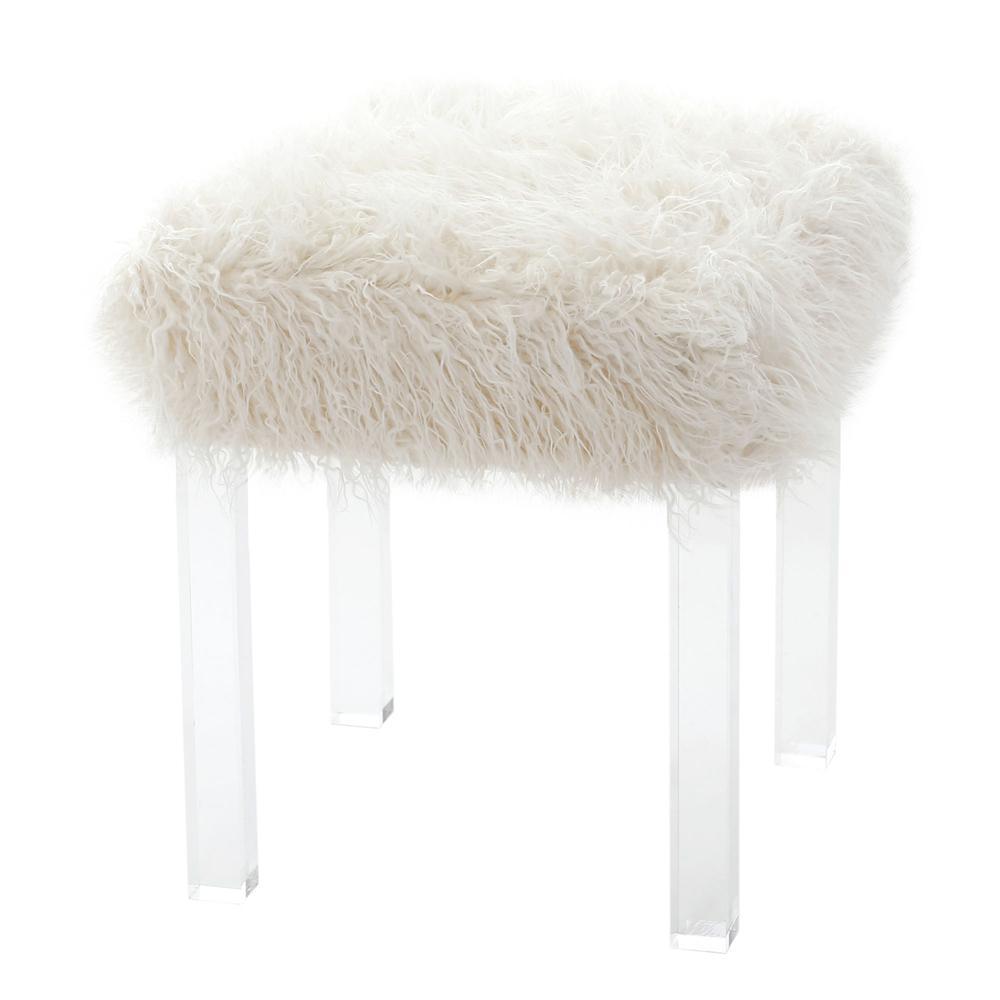 Mongolian Faux Fur Acrylic Stool Chairish