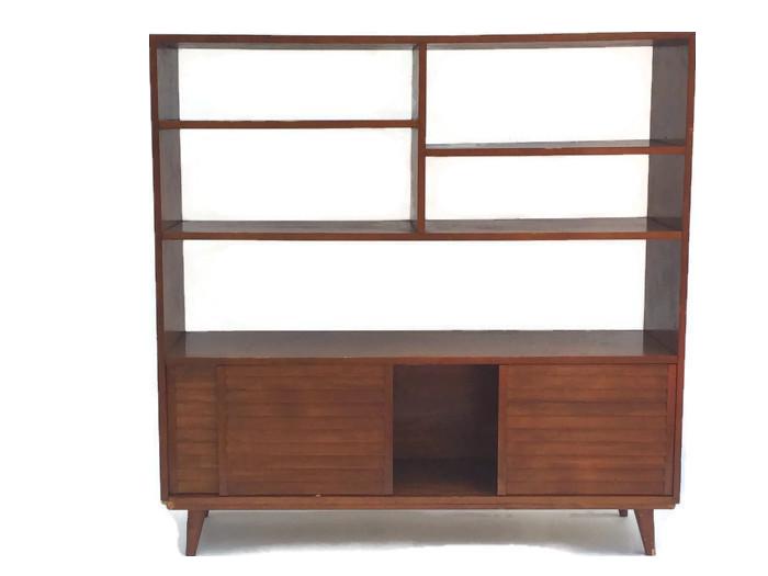 mid century modern bookcase wall unit chairish. Black Bedroom Furniture Sets. Home Design Ideas
