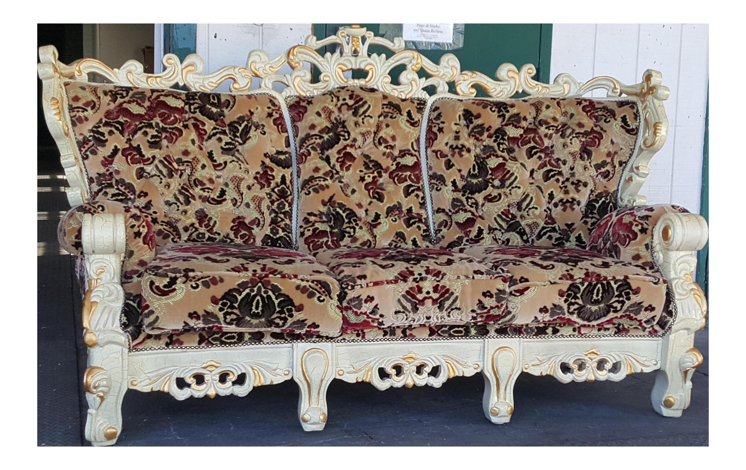 Vintage Victorian Style Floral Velvet Carved Wood Sofa