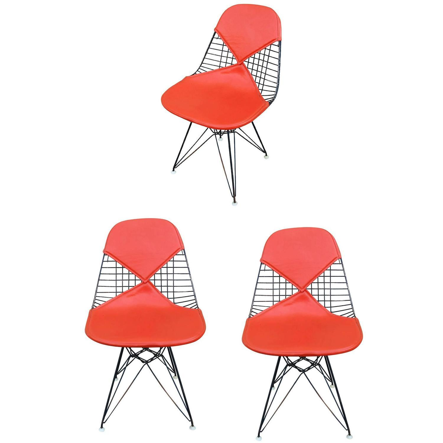 Herman miller eames dkr bikini chairs set of 3 chairish for Chaise eames dkr
