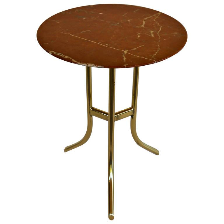 Marble and brass round side table chairish for Round marble side table
