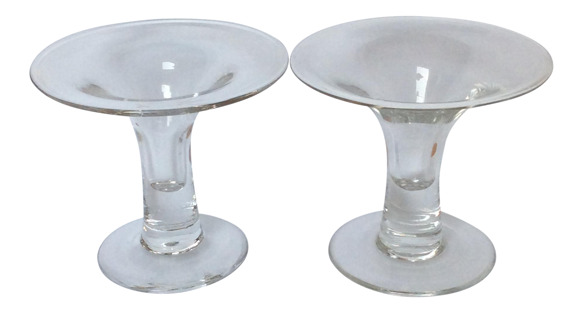 scandinavian glass candle holders a pair chairish With kitchen cabinets lowes with scandinavian candle holders