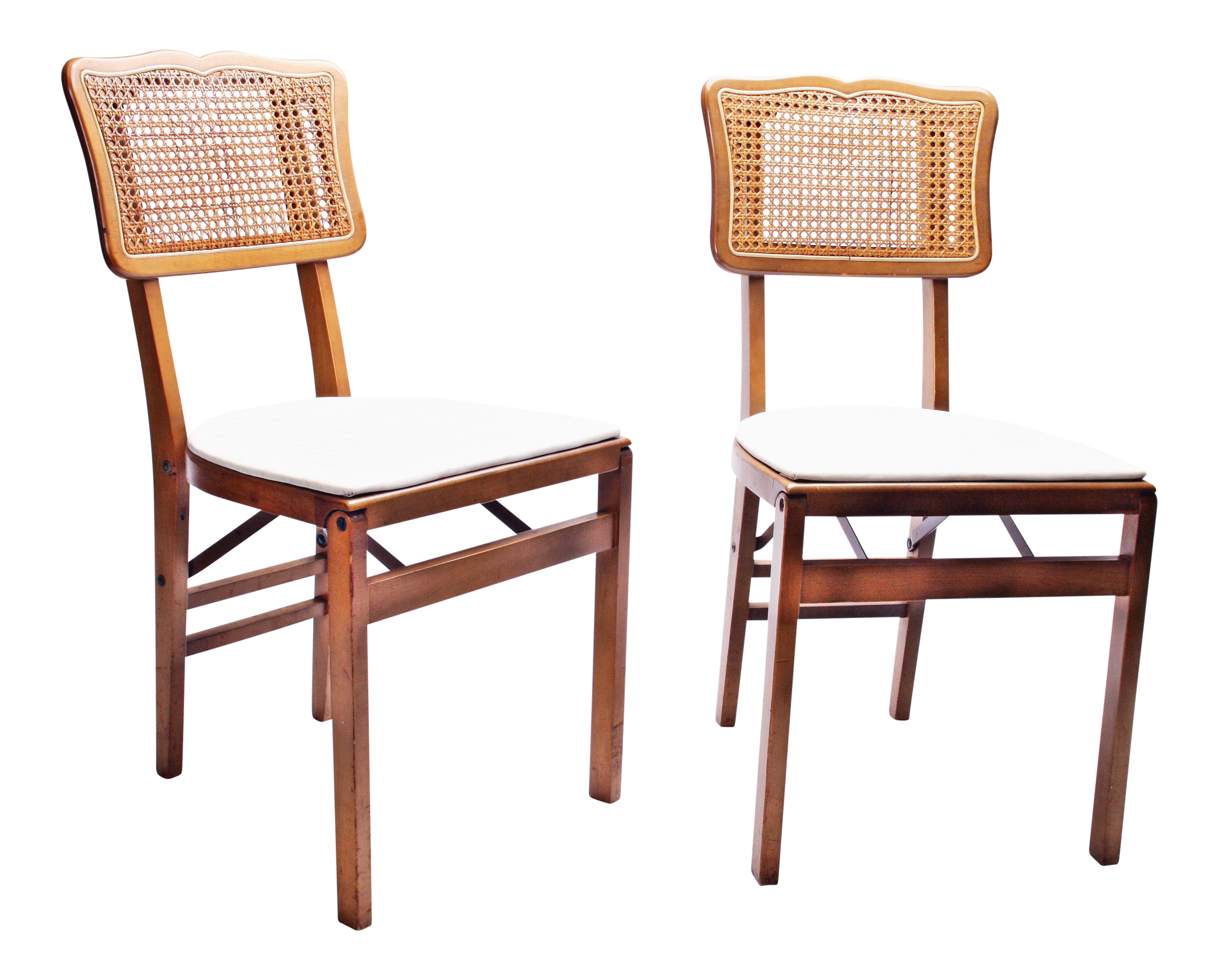 Mid Century Modern Stakmore Wood & Caned Folding Chairs A Pair