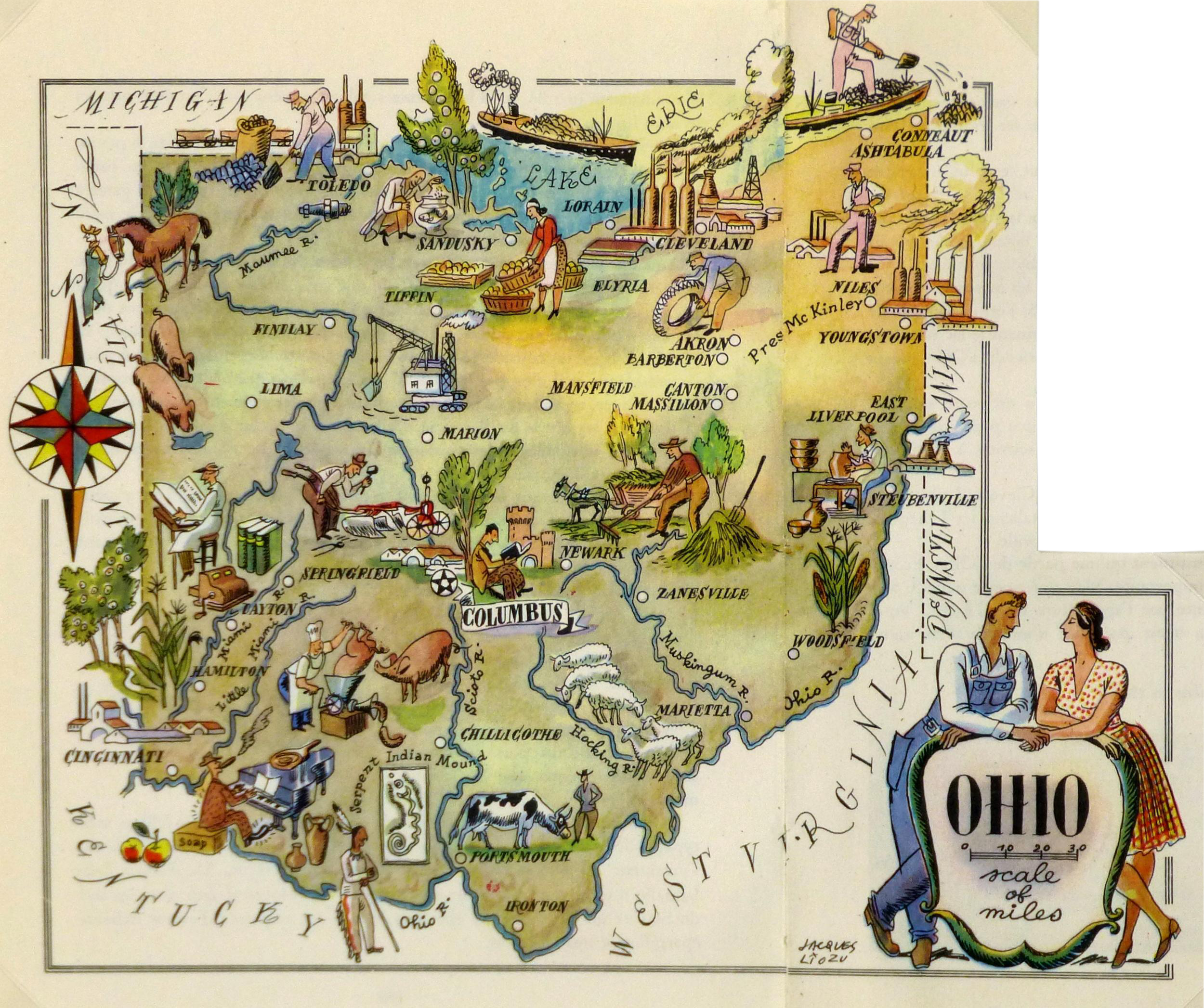 Vintage Ohio Pictorial Map 1946 Chairish
