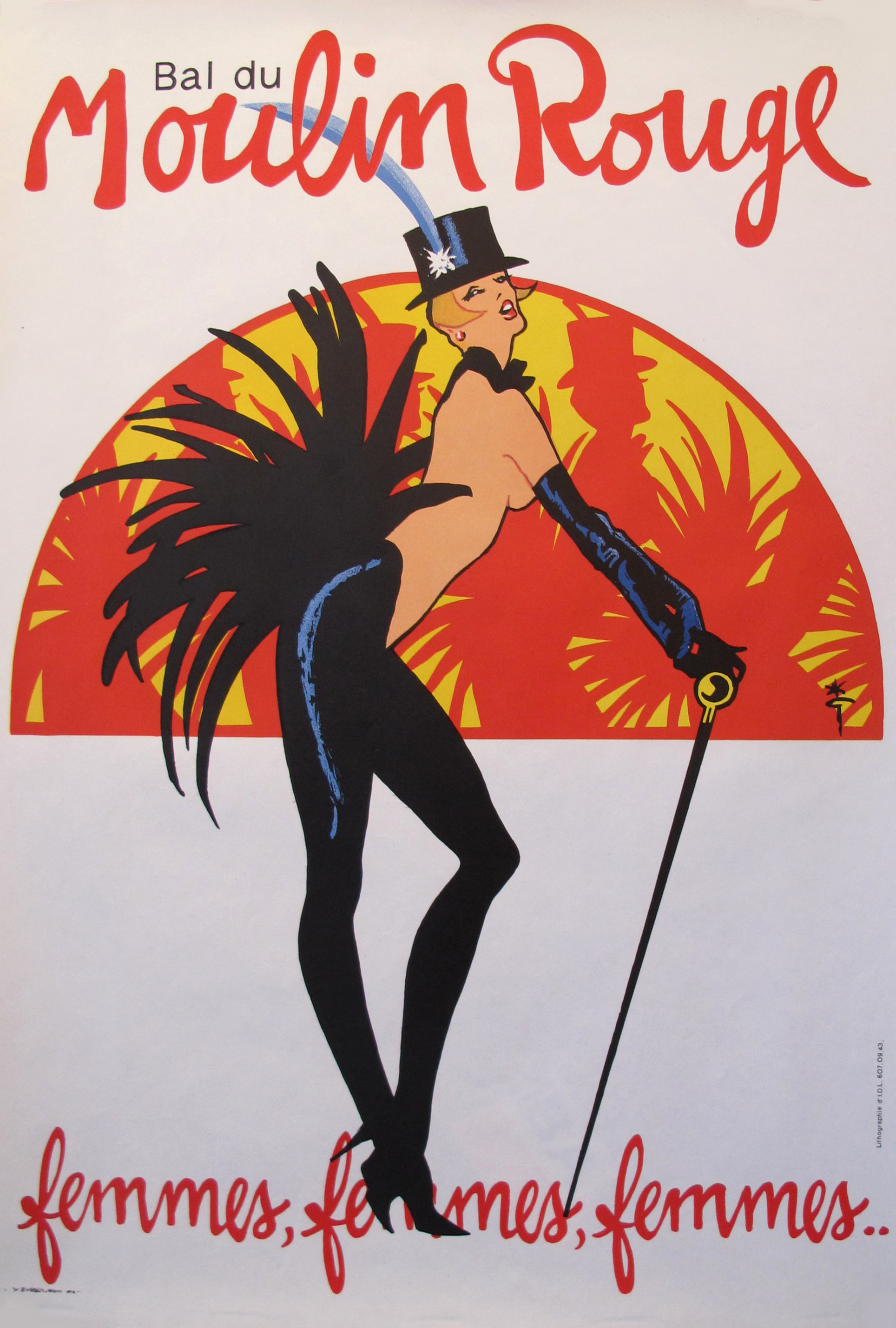 1980s French Vintage Moulin Rouge Poster, Femmes by Rene Gruau ...