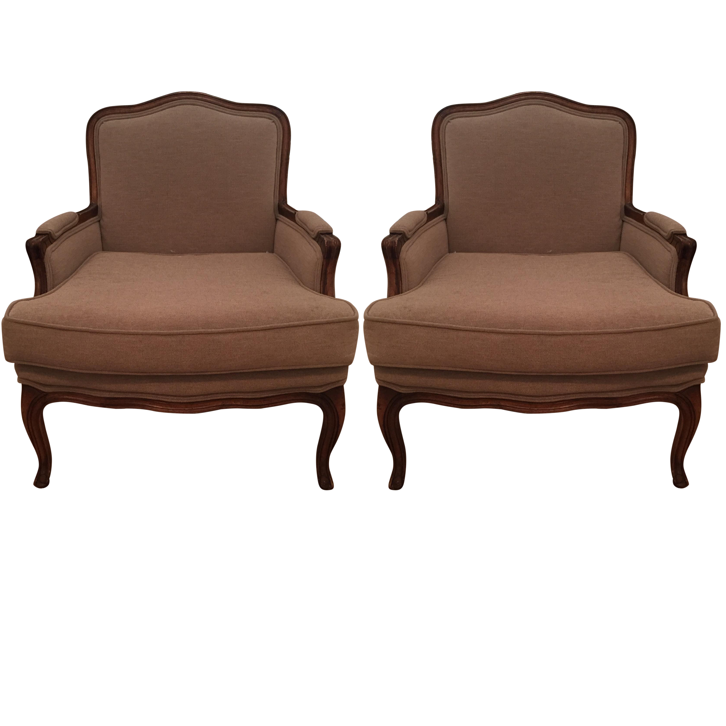 Upholstered bergere chairs pair chairish for Table bergere