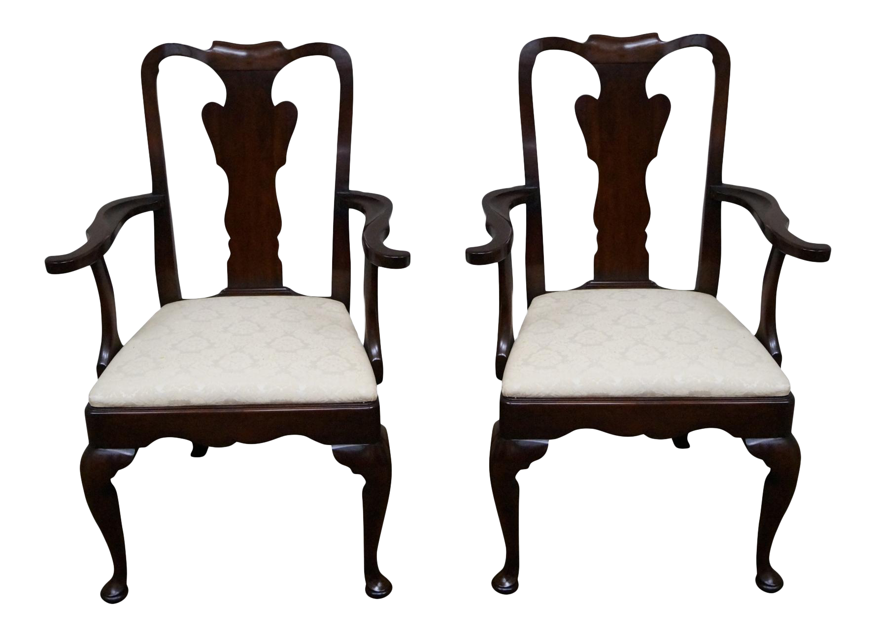 Statton Old Towne Cherry Queen Anne Chairs Pair