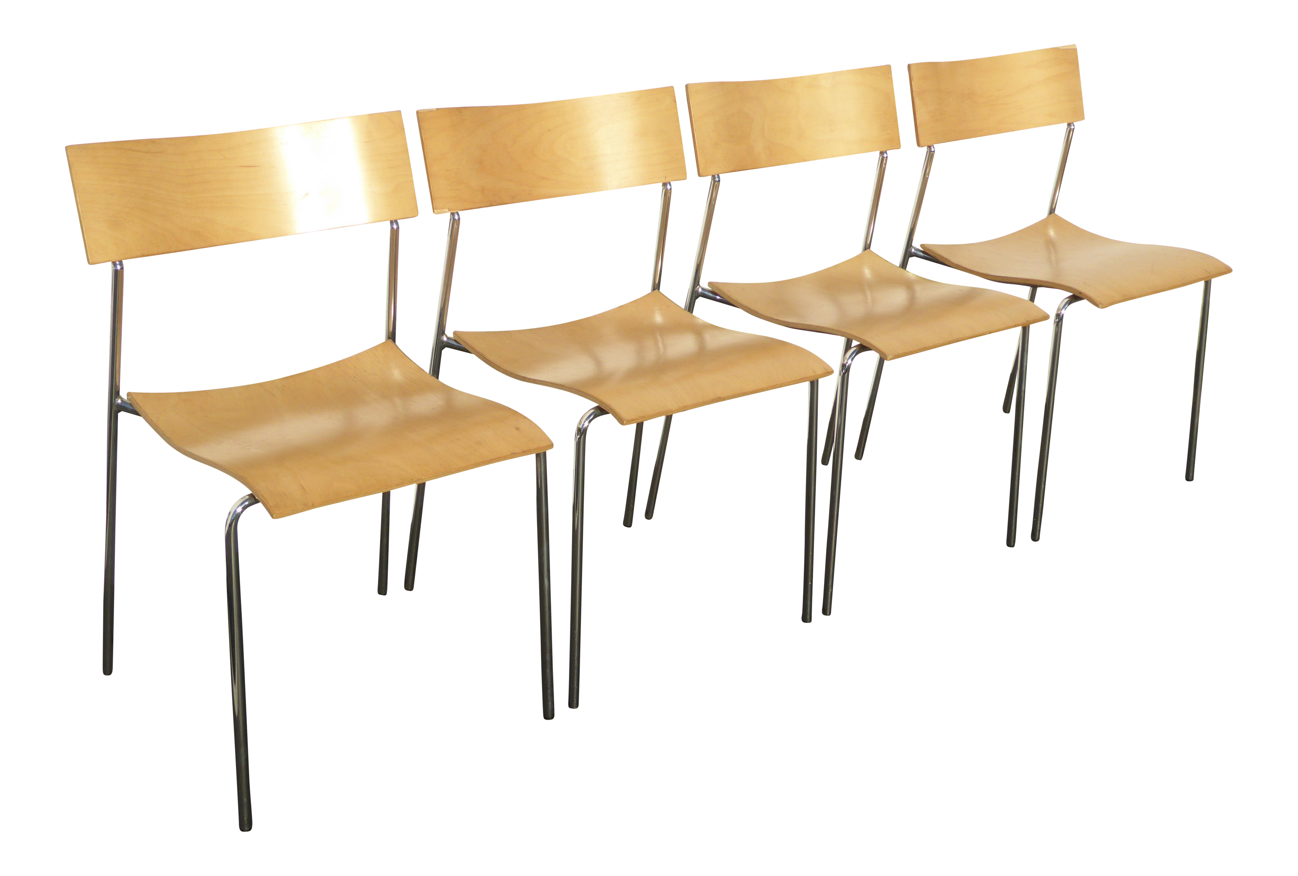 Lammhults Mobel Ab Mid Century Wood & Chrome Accent Chairs Set