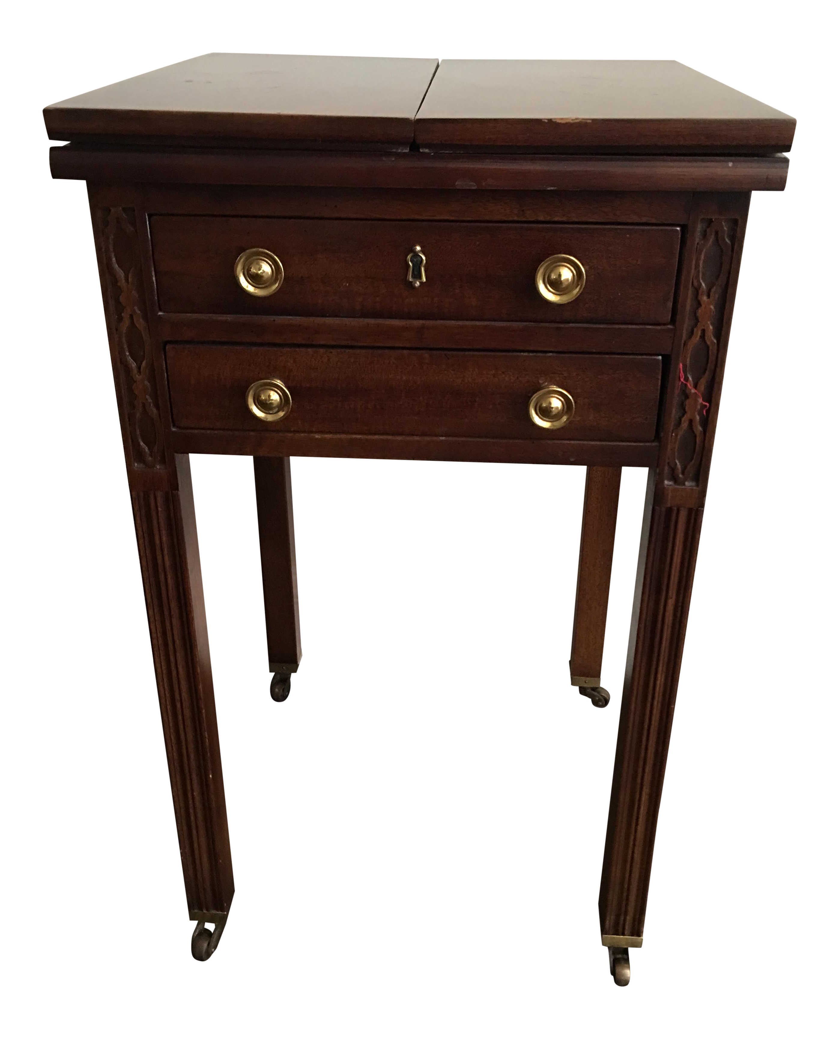 Henredon Chippendale Mahogany Fretwork Drop Leaf Table