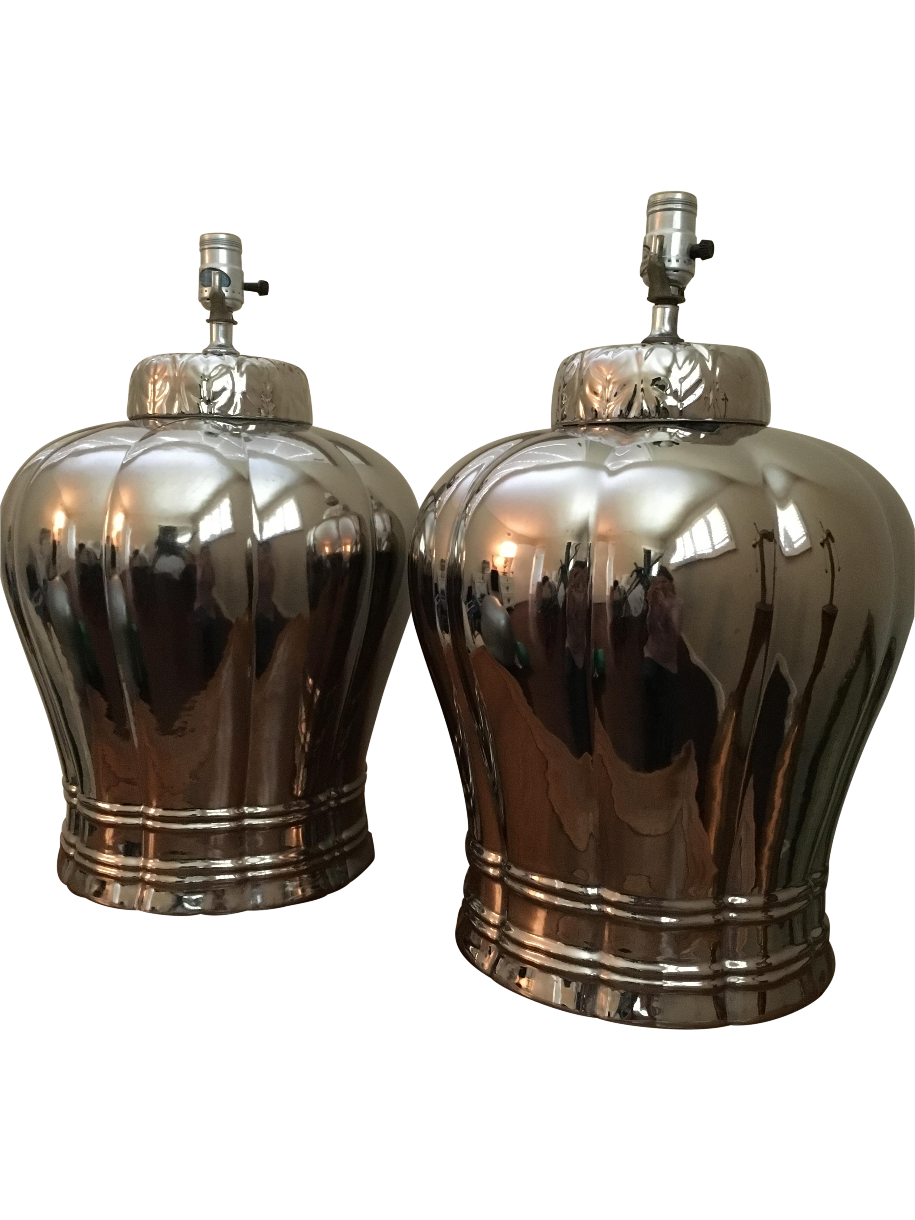 Vintage silver ginger jar table lamps a pair chairish geotapseo Gallery