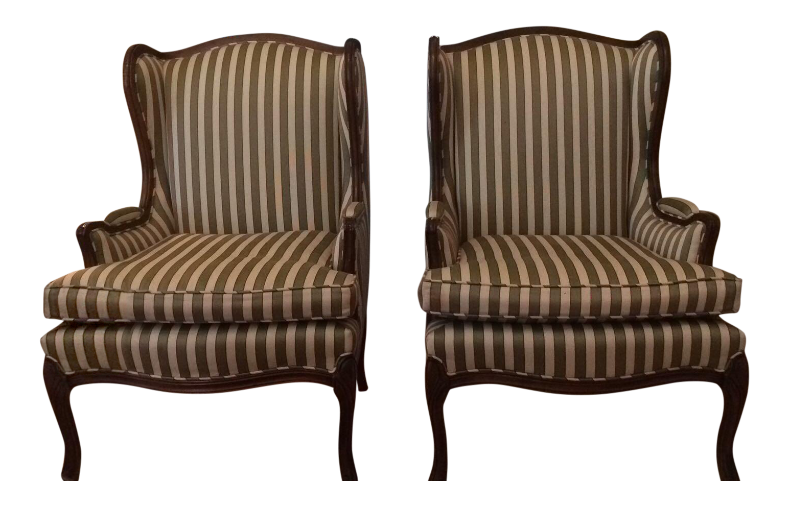 Image Of Pair Of Queen Anne Wingback Striped Upholstered Chairs