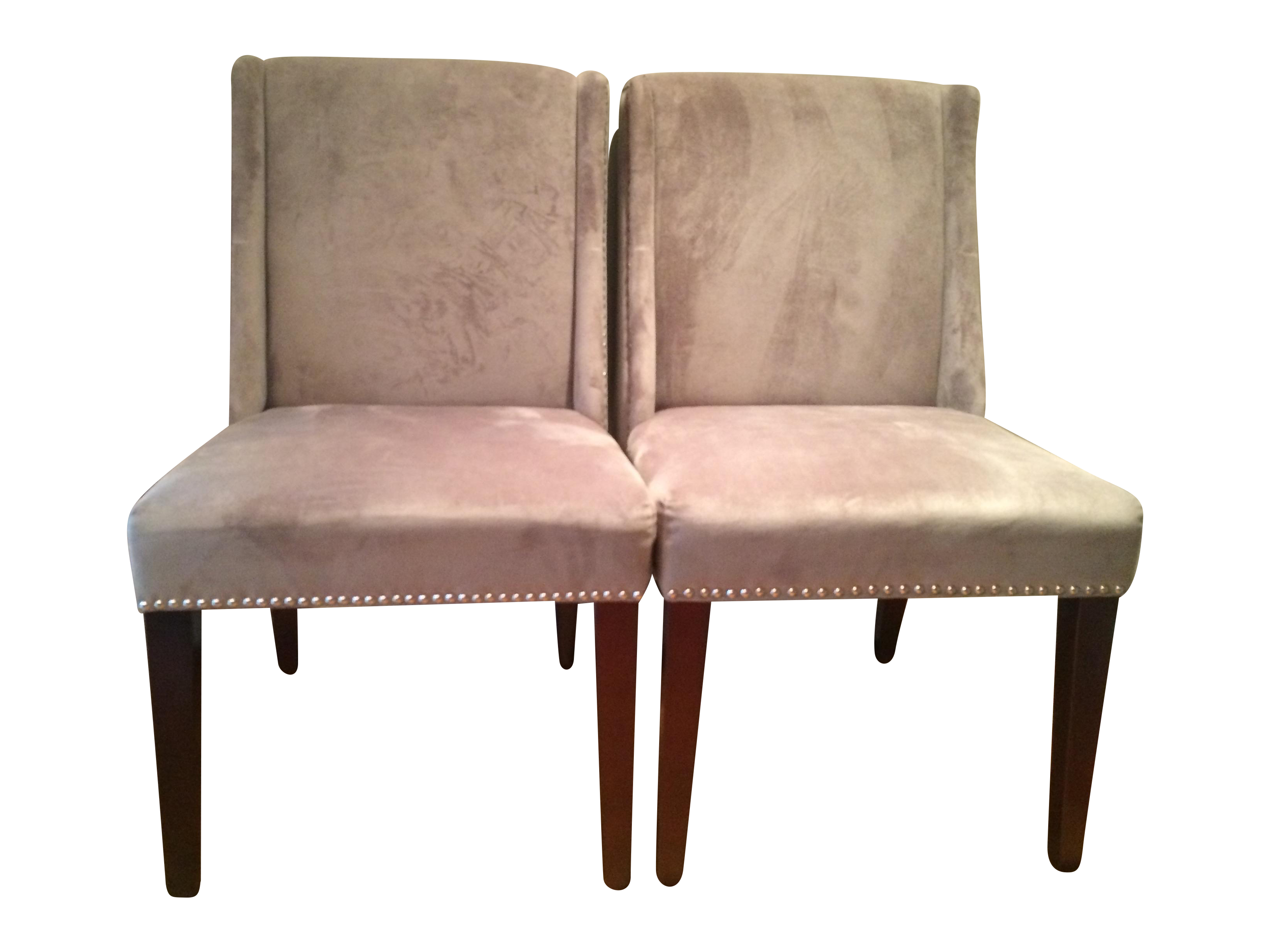 Velvet studded dining chairs pair chairish for Studded dining room chairs