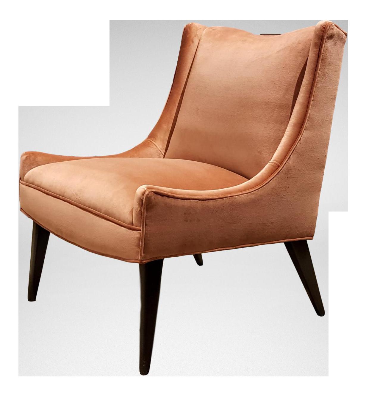 Slipper Chair Harvey Probber Salmon Velvet Slipper Chair Chairish