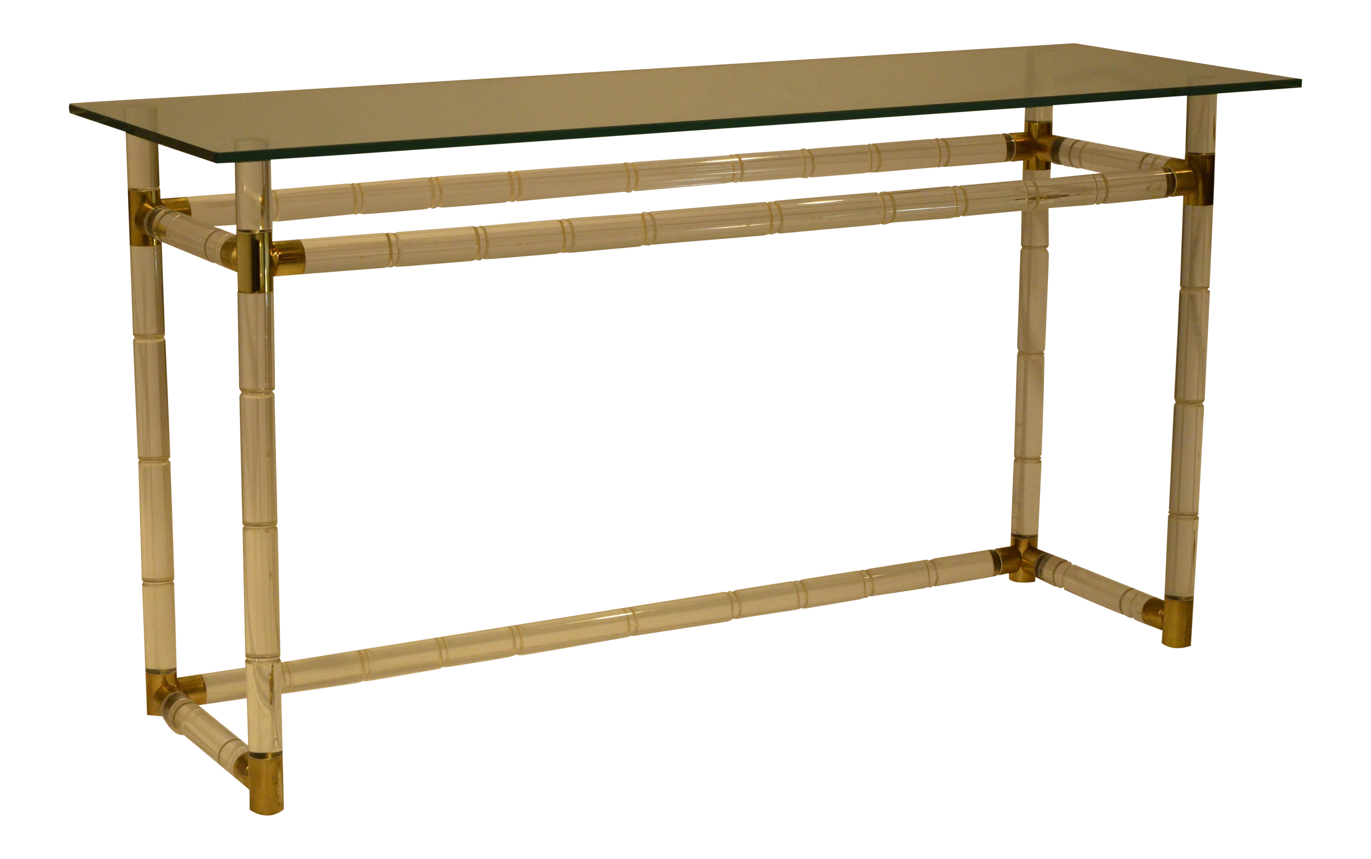 Exquisite Charles Hollis Jones Hollywood Glam Faux Bamboo Lucite And Brass Console  Table | DECASO