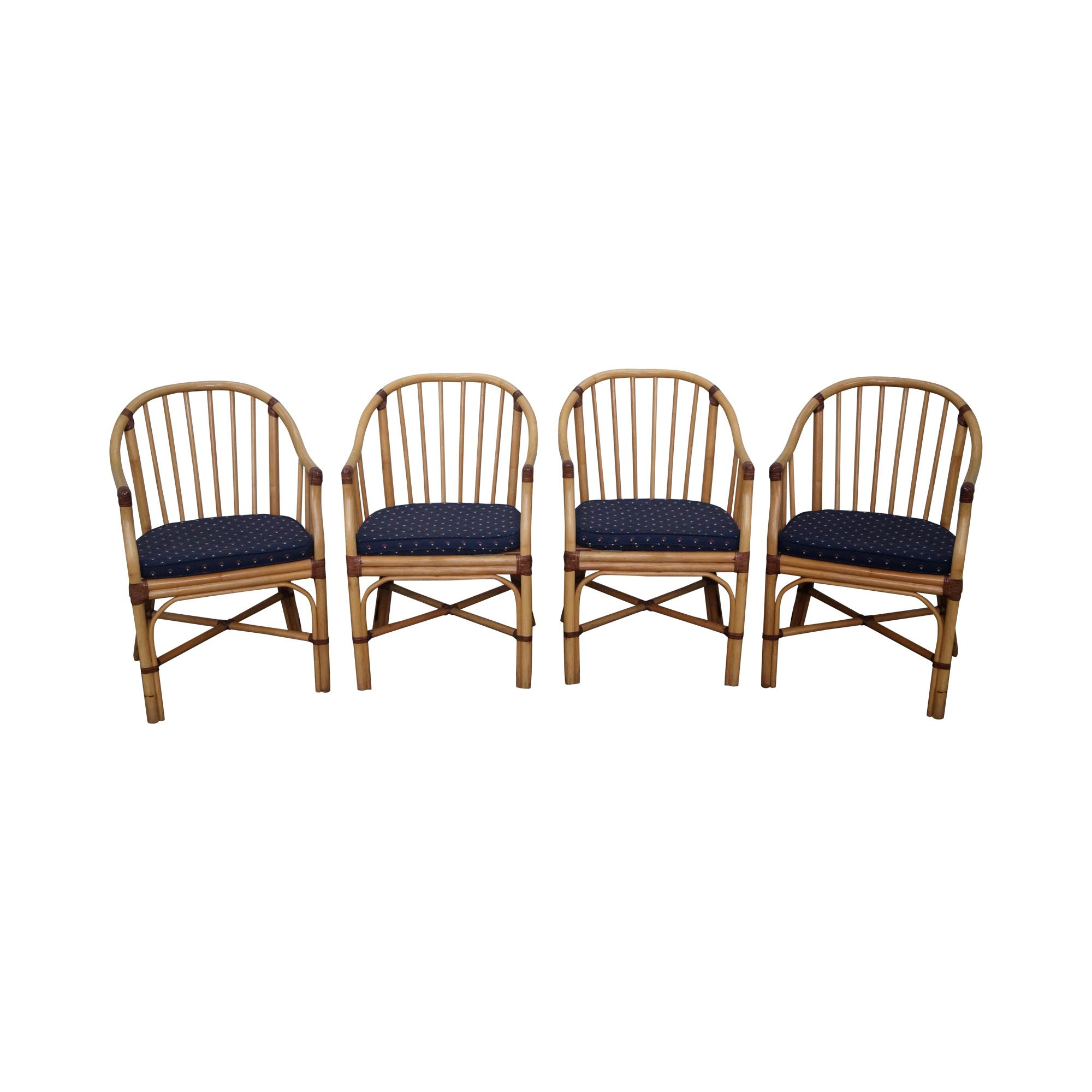 McGuire Style Rattan Barrel Back Dining Chairs Set of 4