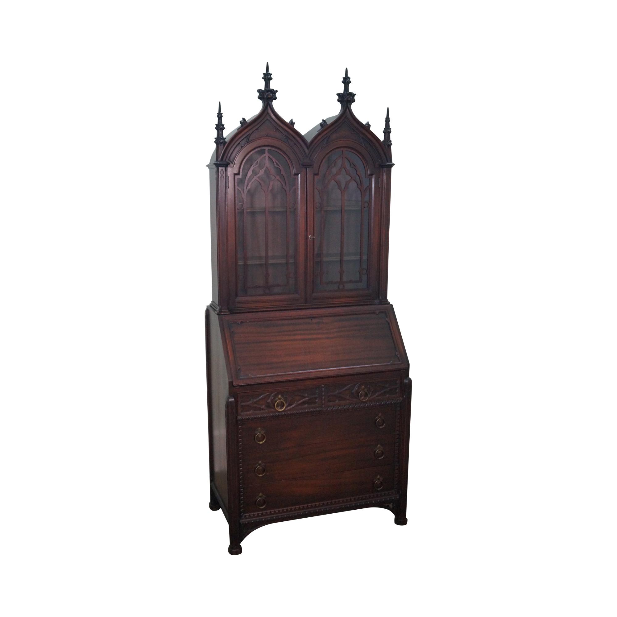 Antique Solid Mahogany Gothic Secretary Desk Chairish