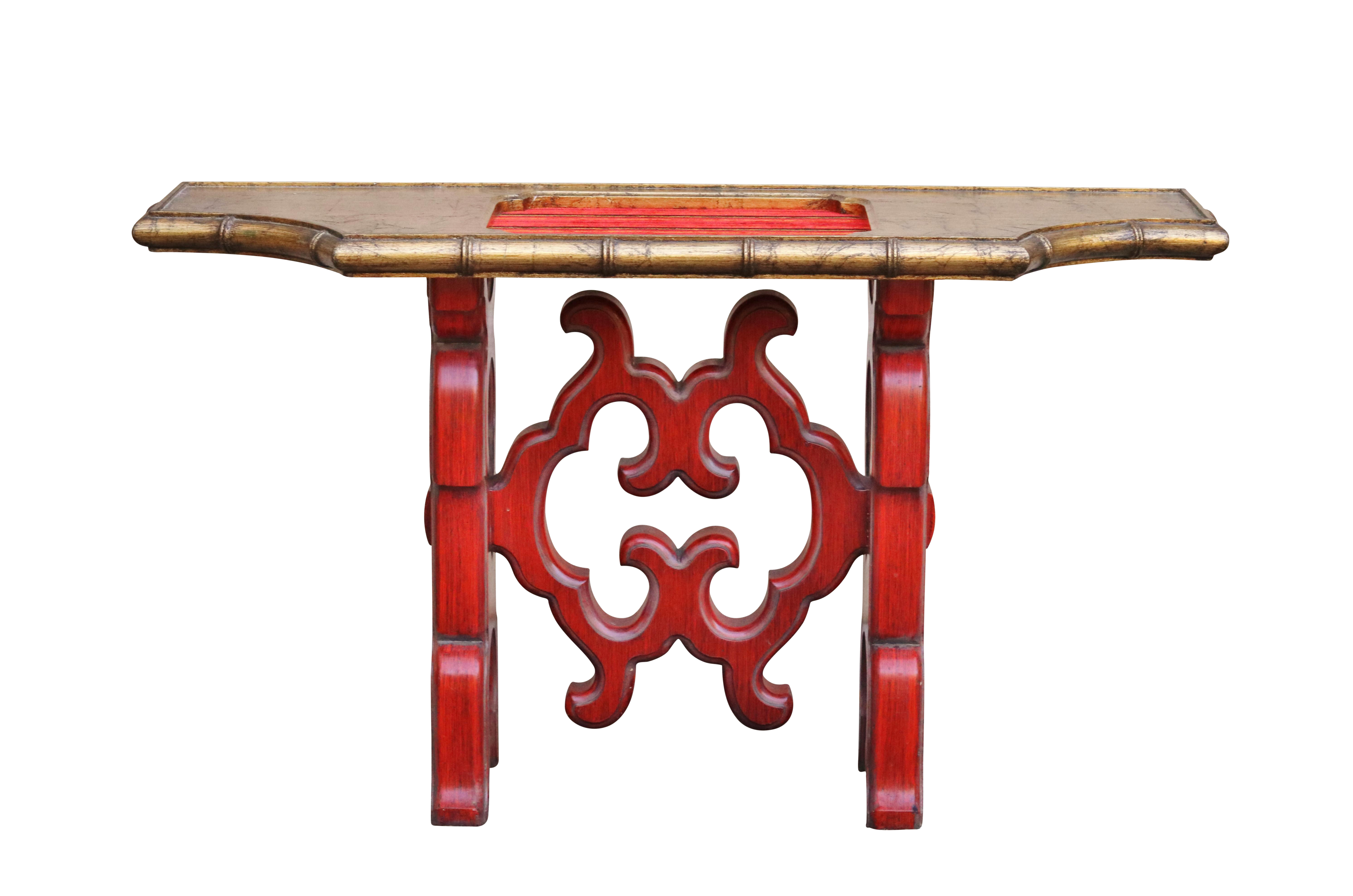 Red Console Table chinoiserie red console table | chairish