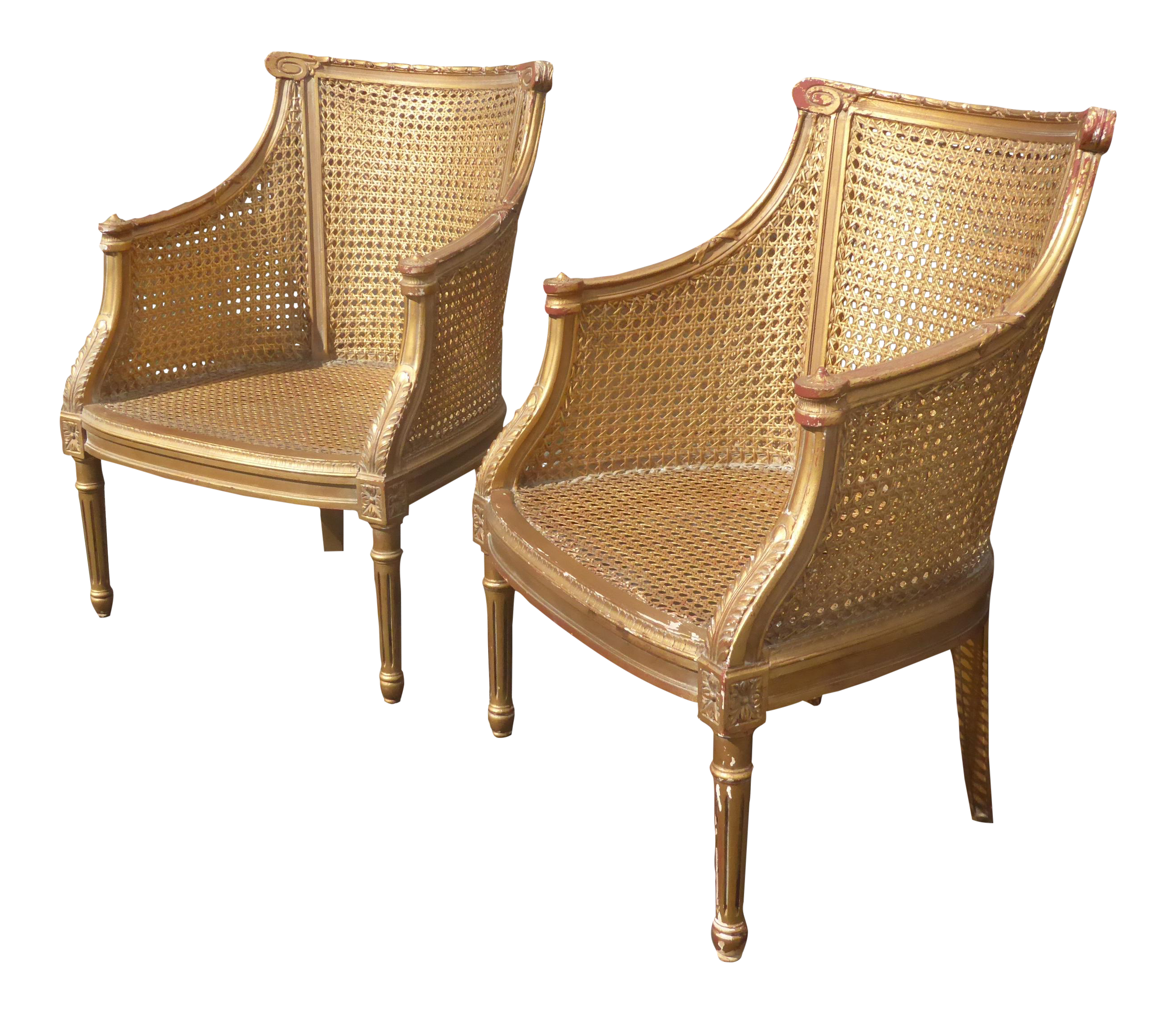 French Rococo Gold Cane Chairs A Pair