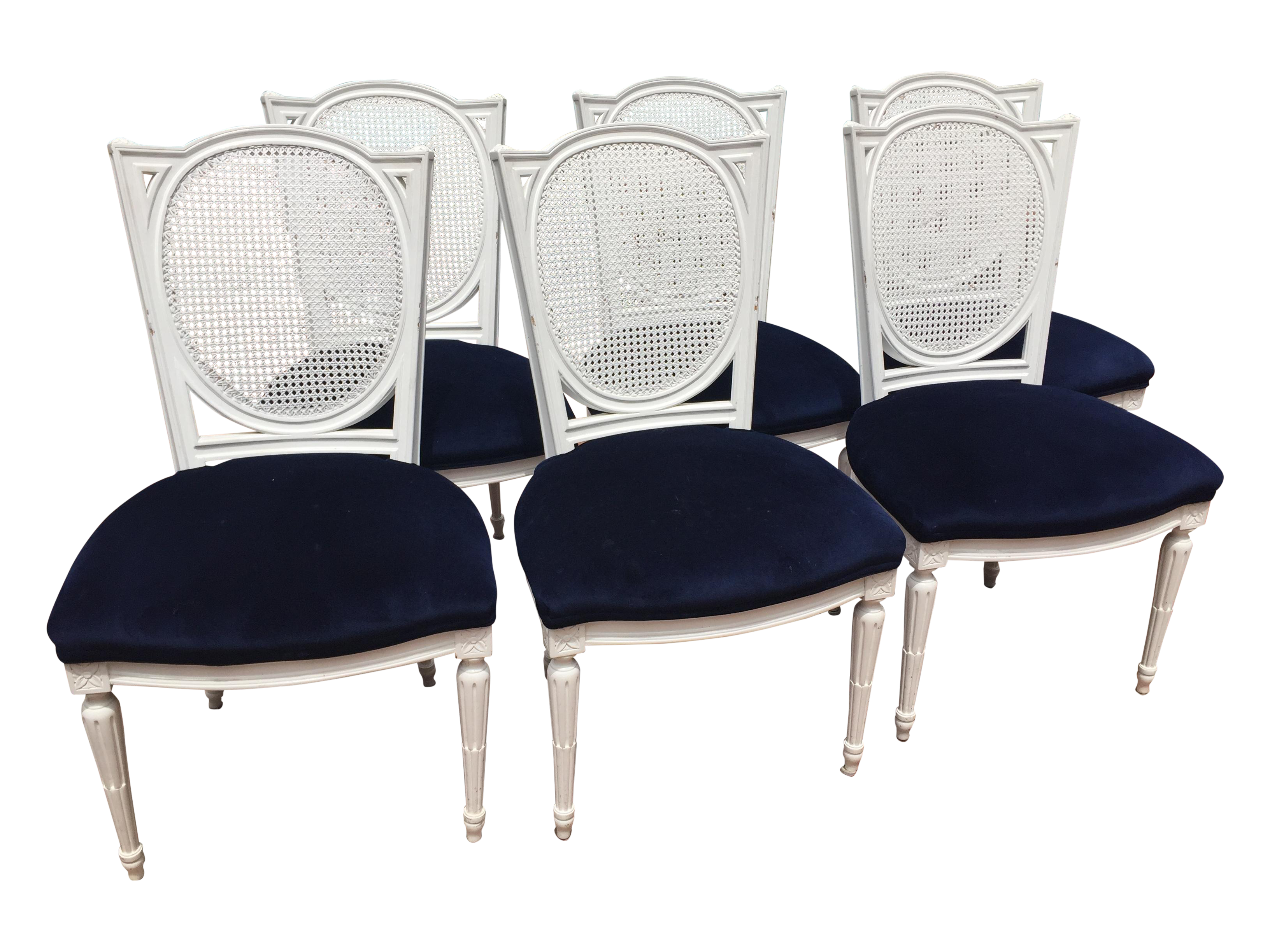 White Lacquer Dining Chairs W Velvet Seat S 6 Chairish