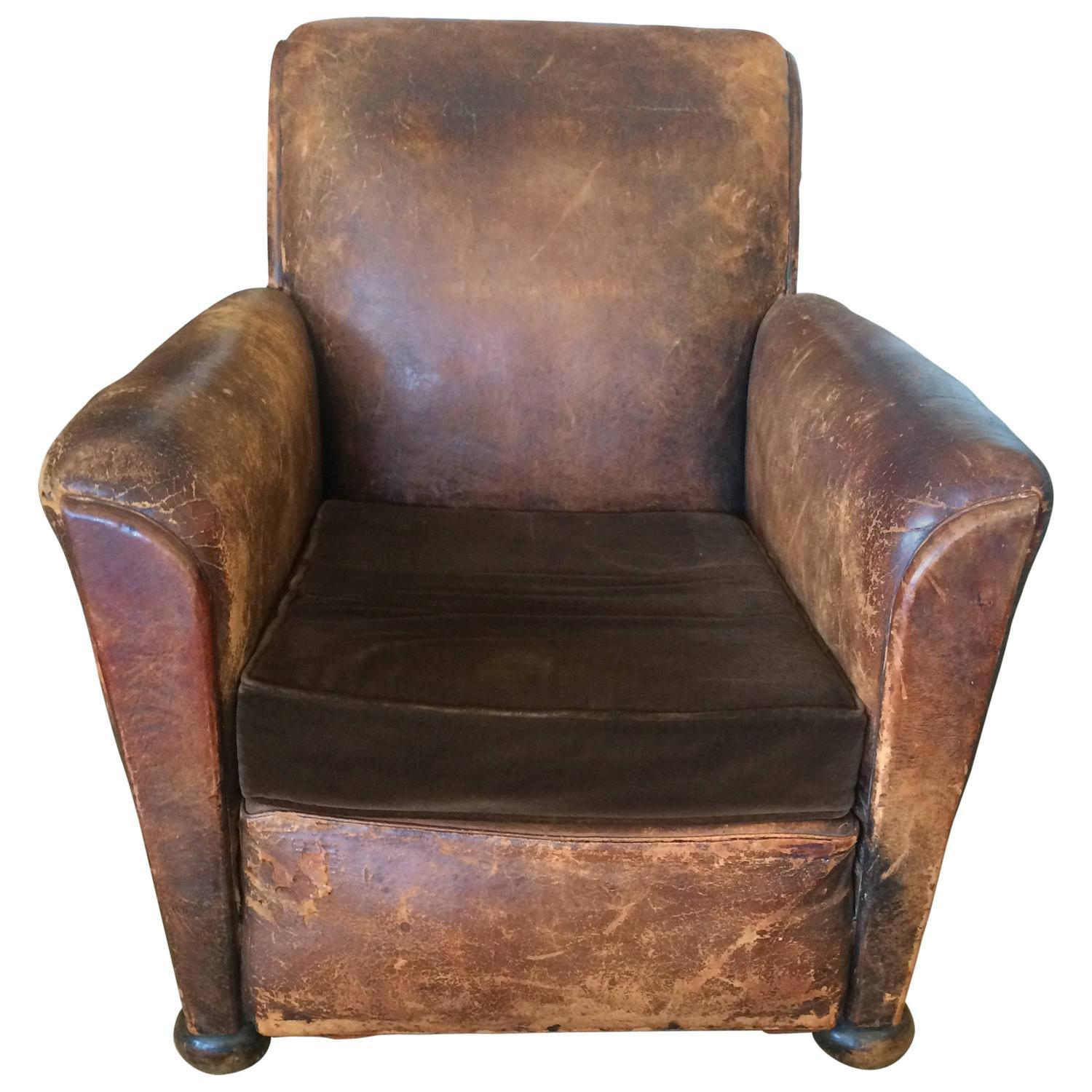 distressed leather club chair distressed leather amp velvet club chair chairish 6786