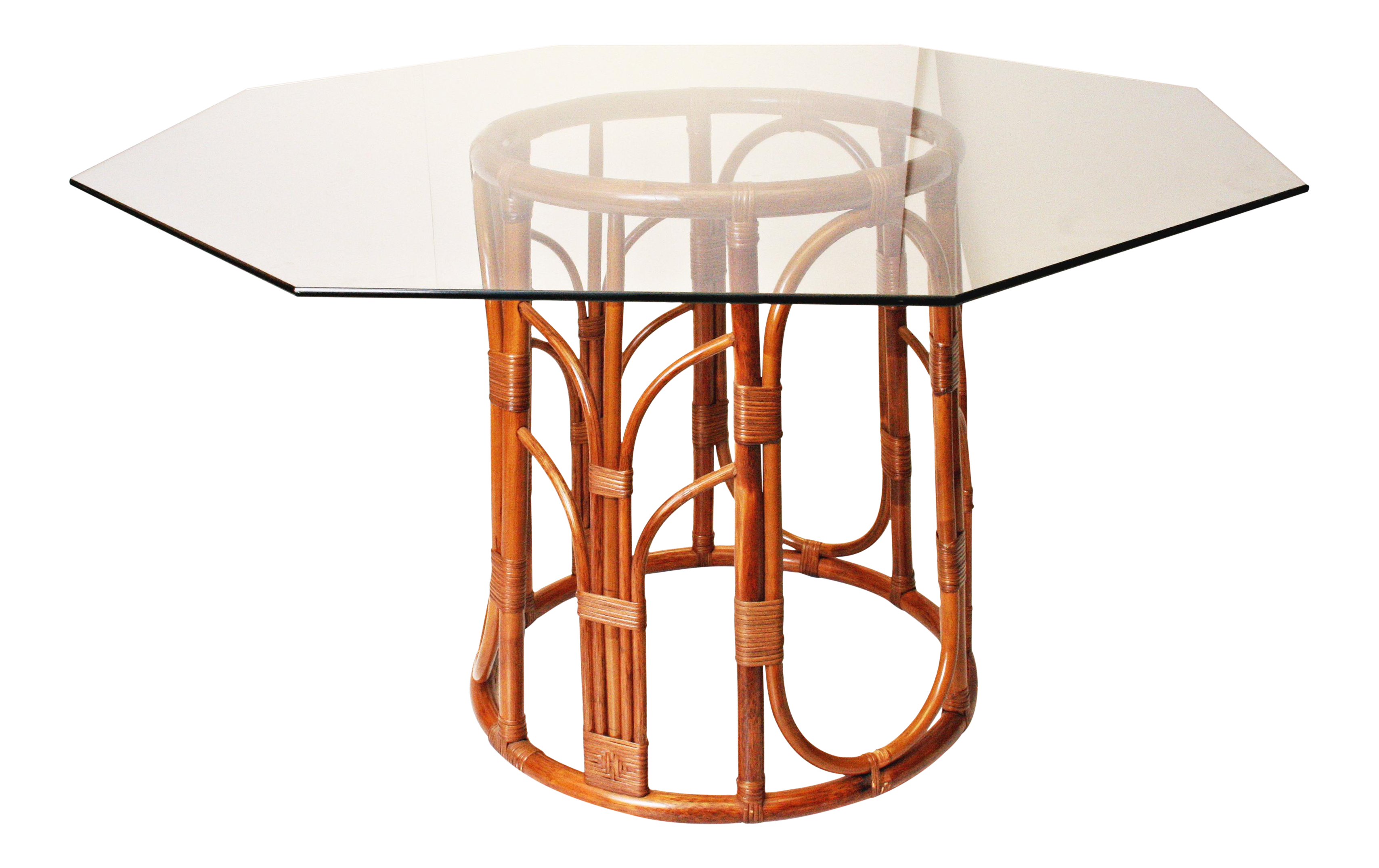 Boho Chic Bamboo & Octagon Glass Top Dining Table