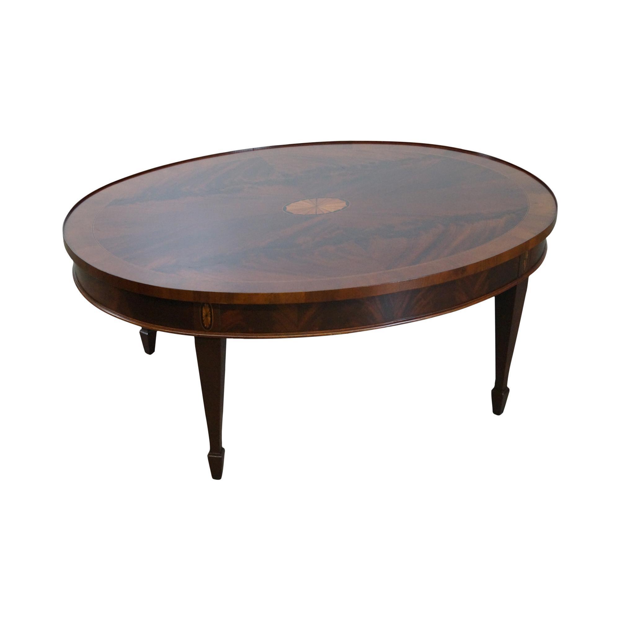 Hekman copley place mahogany oval inlaid coffee table chairish geotapseo Choice Image