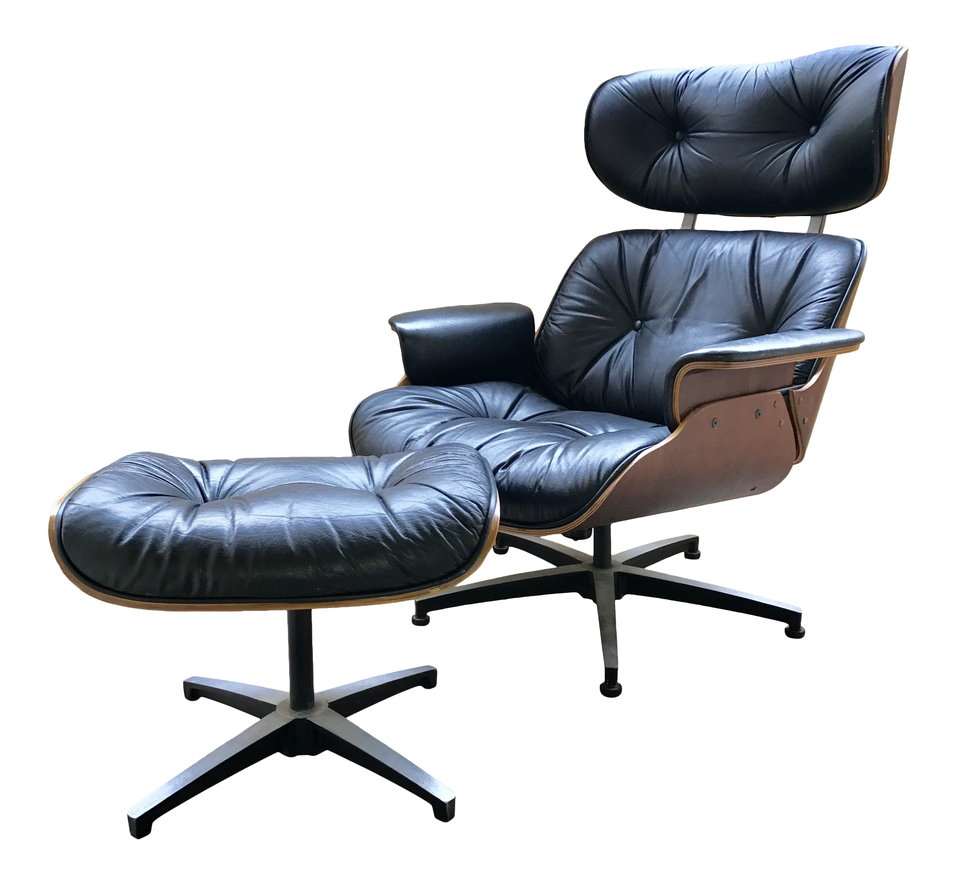 Mid Century Eames Style Lounge Chair & Ottoman Set