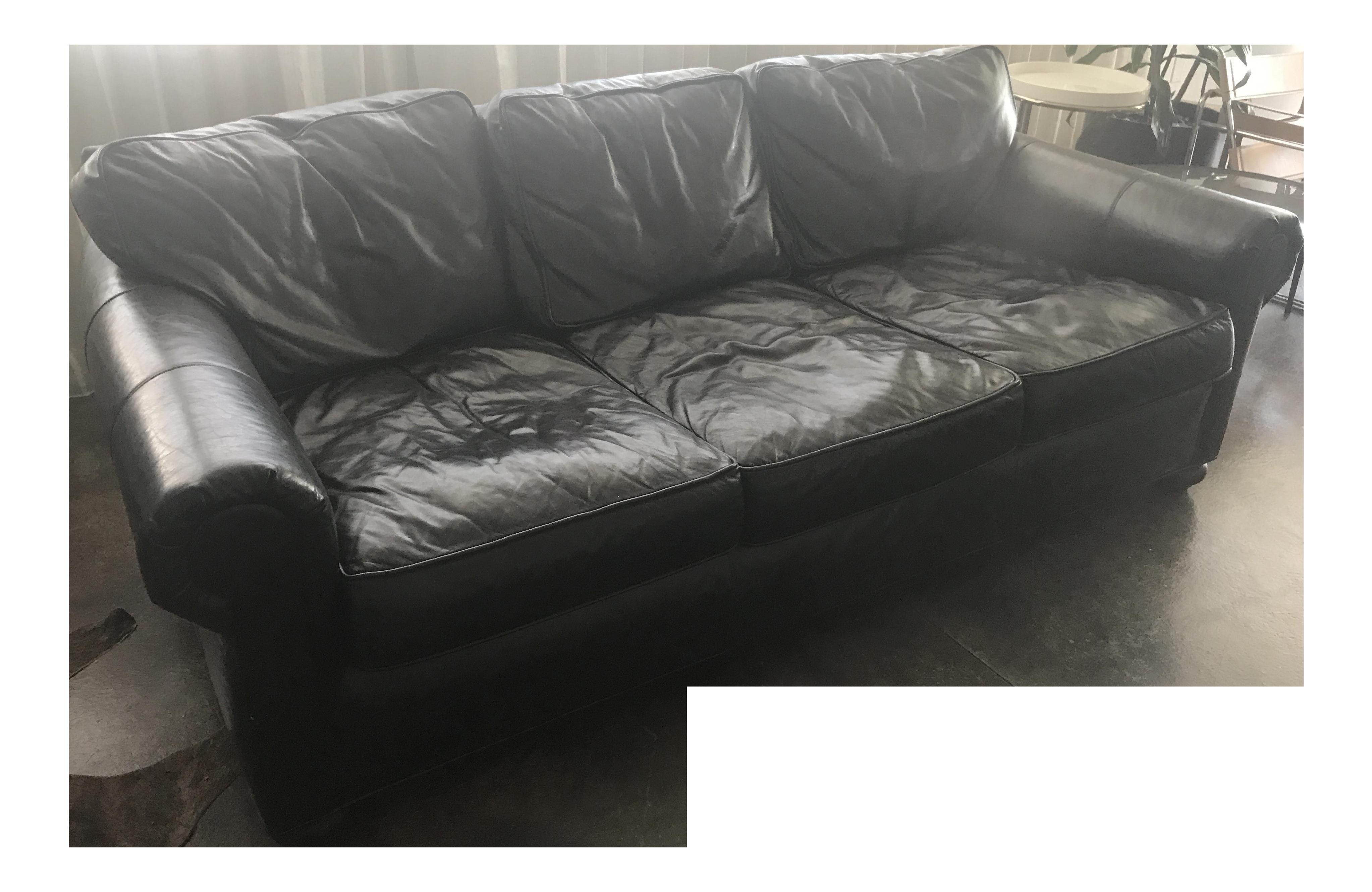 Restoration Hardware Black Leather Sofa