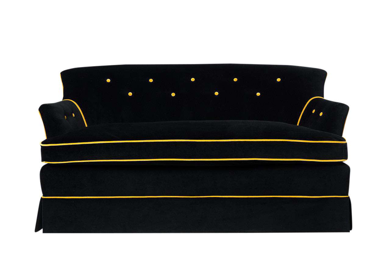 Gatsby Black Amp Gold Velvet Sofa Chairish
