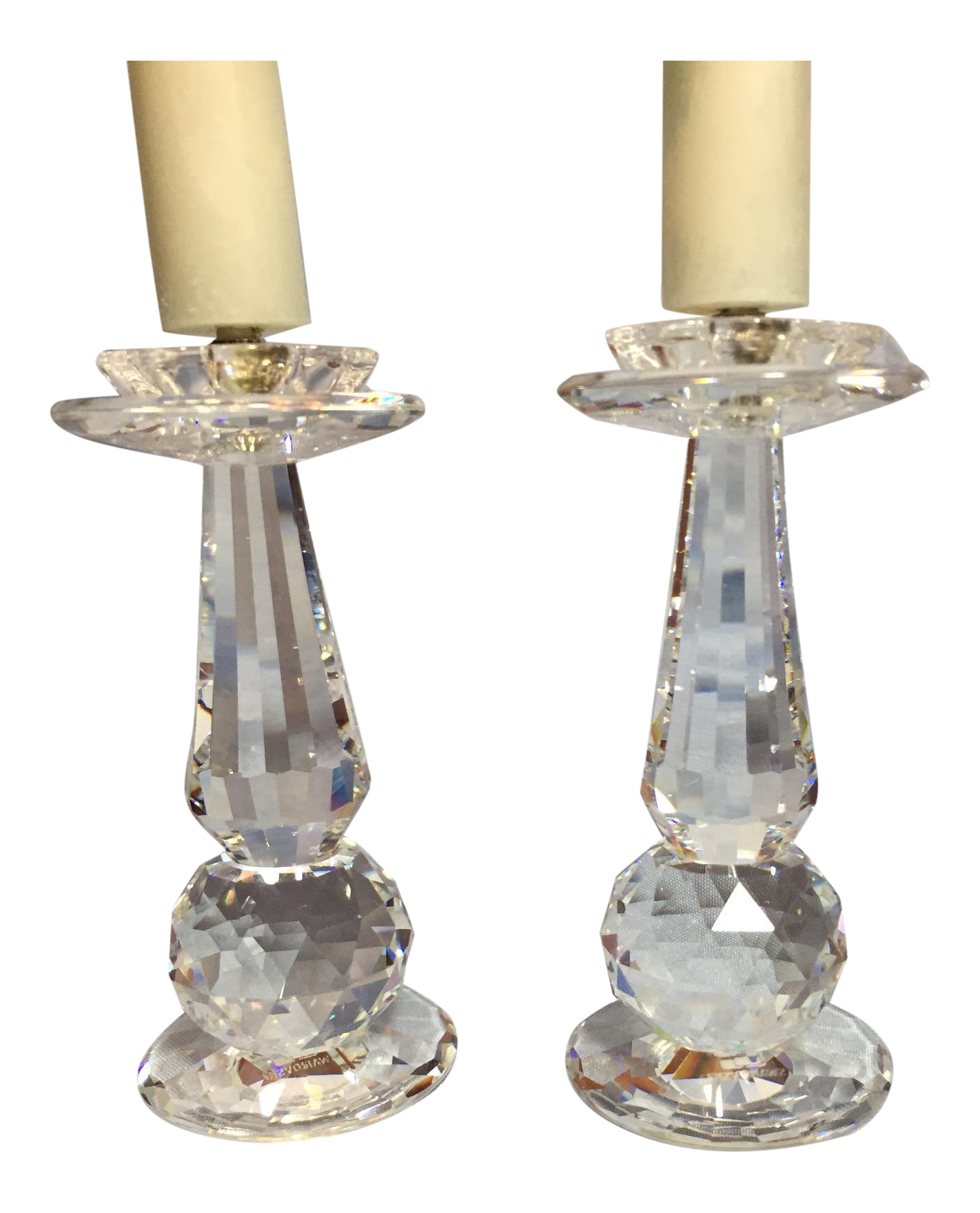 Swarovski crystal prism candle holders a pair chairish for Kitchen cabinets lowes with swarovski crystal candle holders
