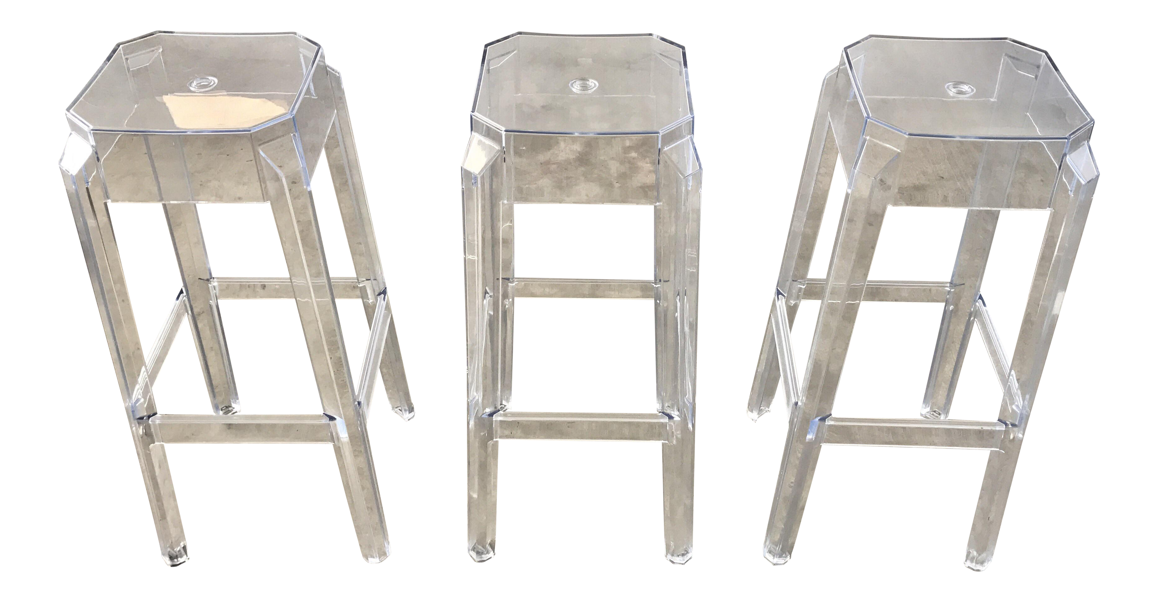clear acrylic modern bar stools set of 3 chairish. Black Bedroom Furniture Sets. Home Design Ideas