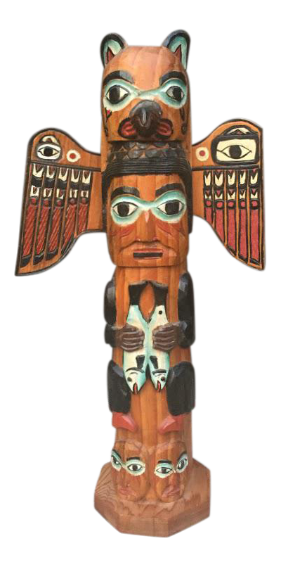 Pacific Nw Native American Carved Totem Pole Chairish