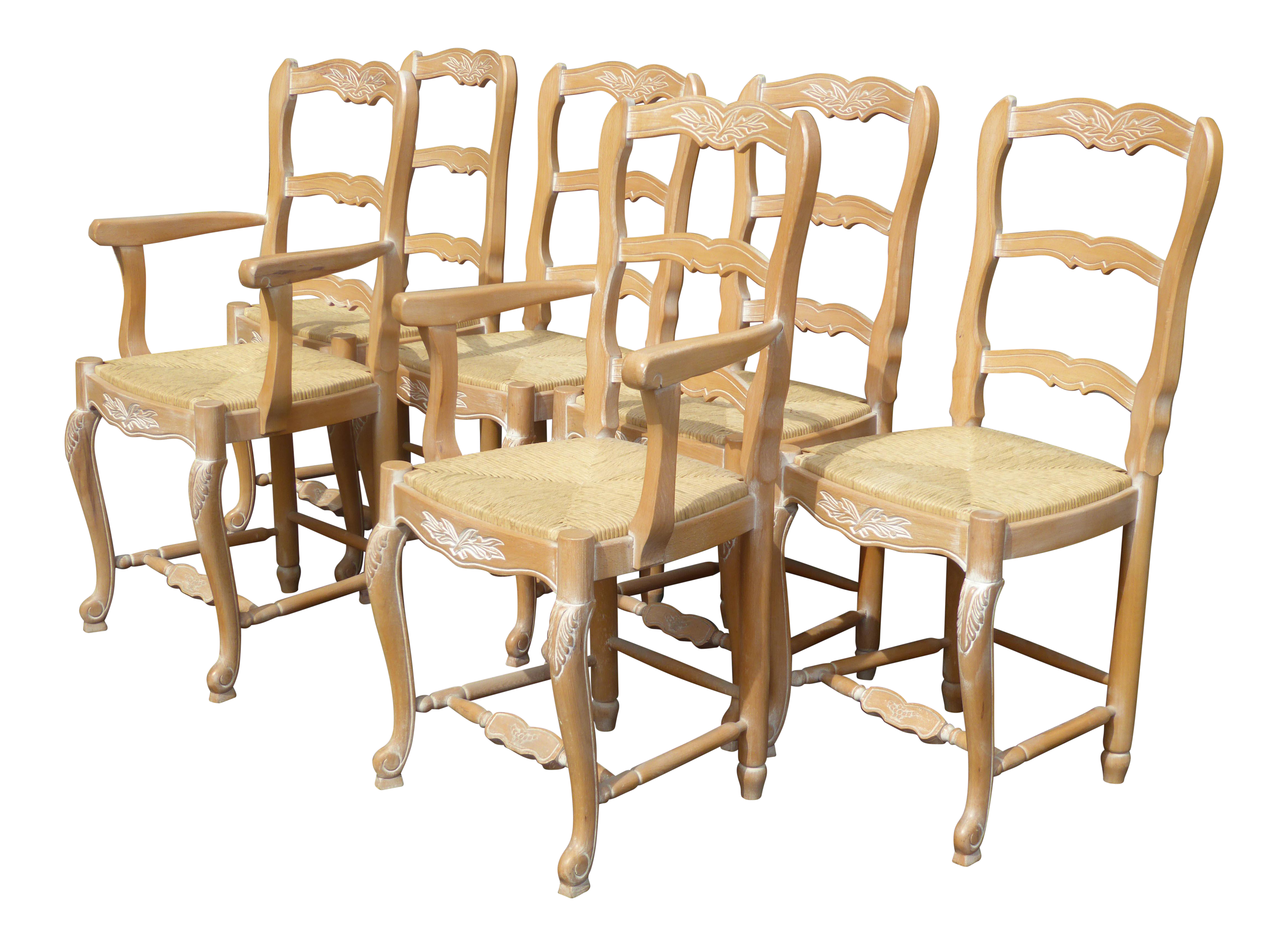 French Country White Wash Carved Wood Rush Dining Chairs   Set Of 6 Made In  Italy | Chairish
