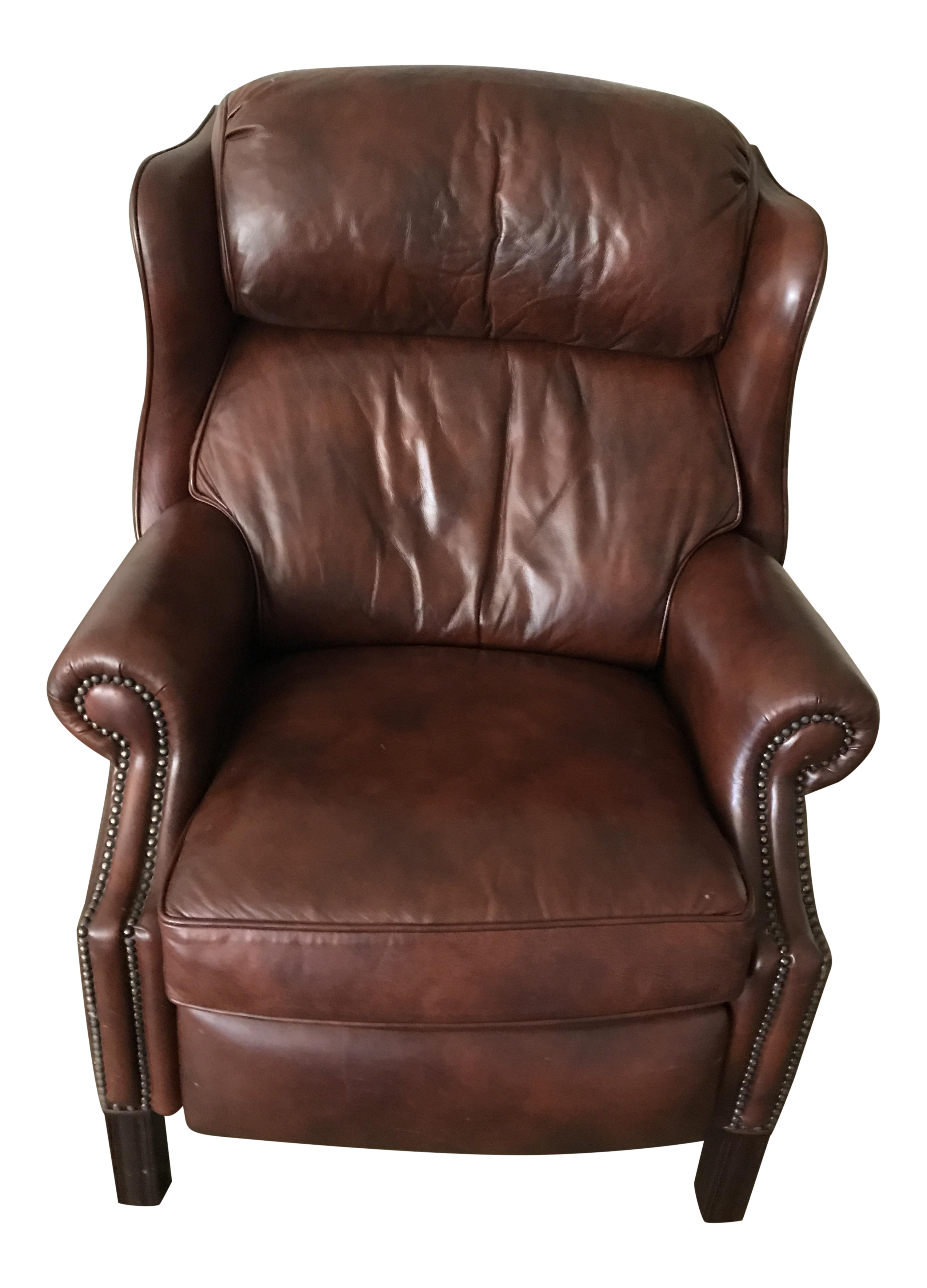 hancock & moore leather recliner | chairish