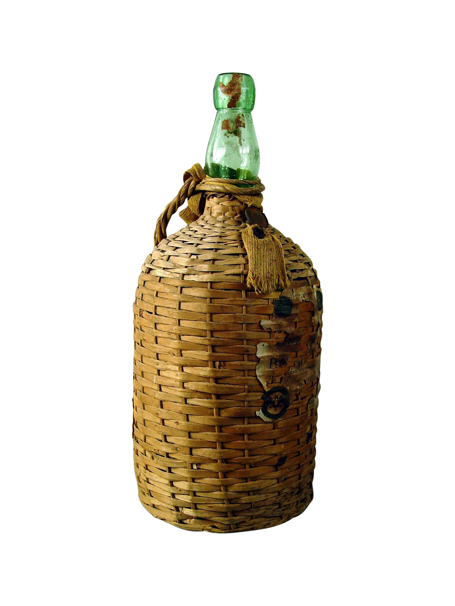 Vintage Bacardi Rum Wicker Covered Bottle Chairish