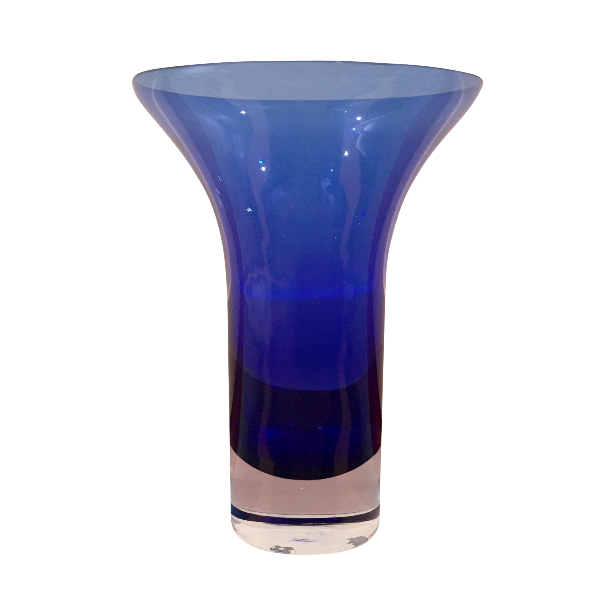 Flared Cobalt Blue Crystal Glass Vase Chairish
