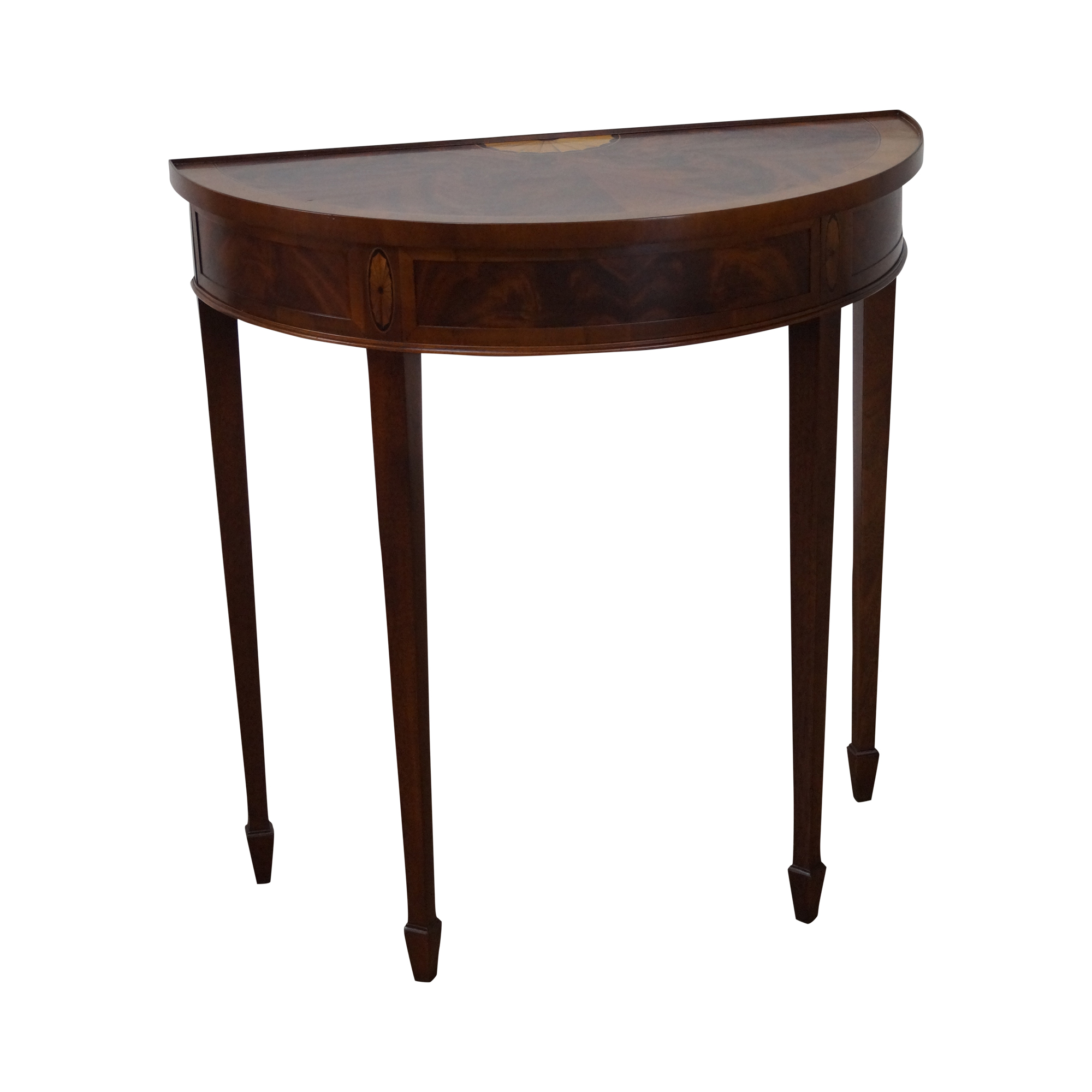 Hekman mahogany yew wood inlaid console table chairish for Yew sofa table