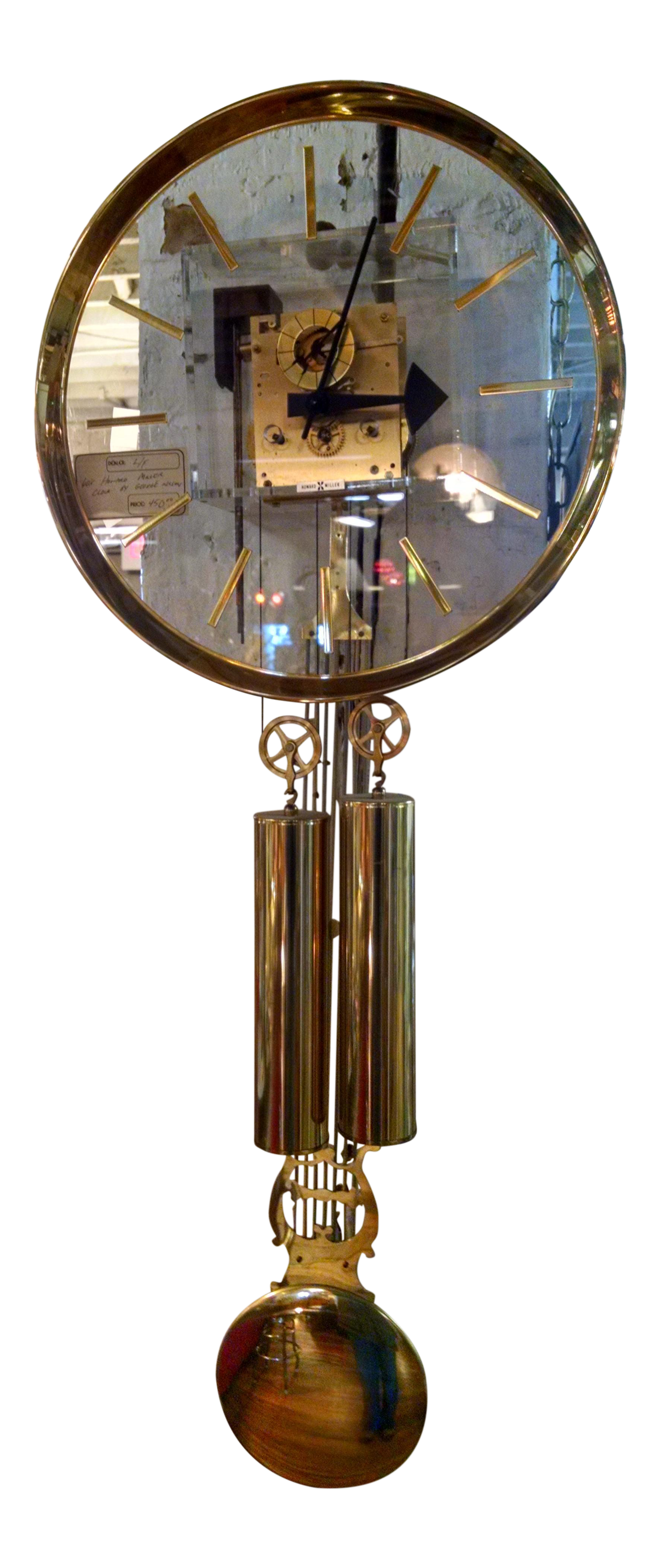 Howard Miller Lucite Amp Brass Chiming Pendulum Wall Clock