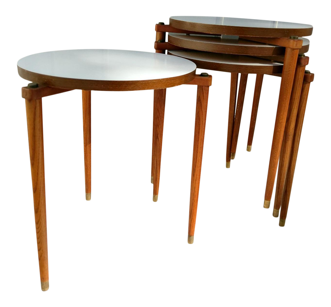 Mid century round stacking tables set of 4 chairish for Small stackable coffee tables