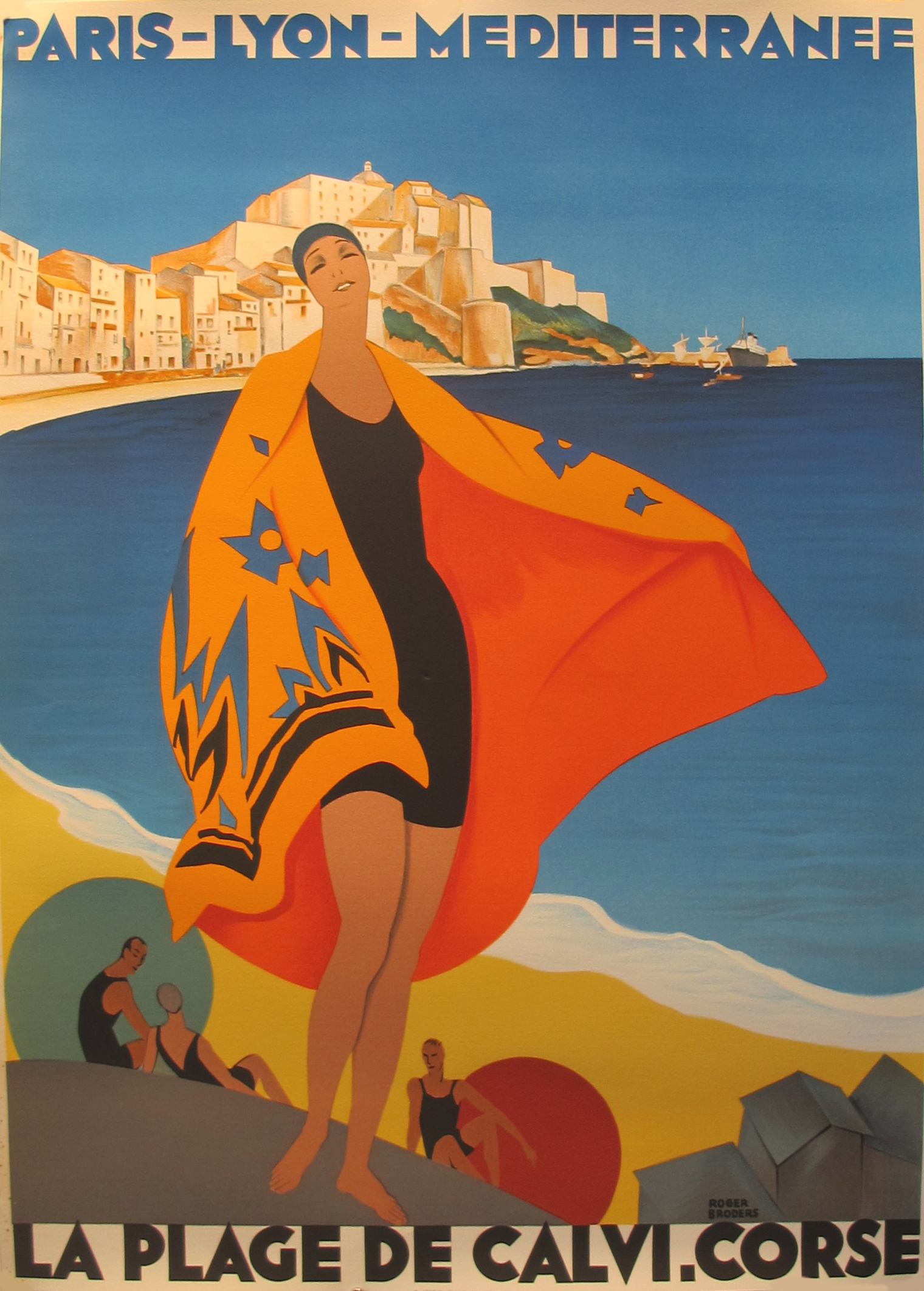 Plage De Calvi Corse Poster By Roger Broders Chairish
