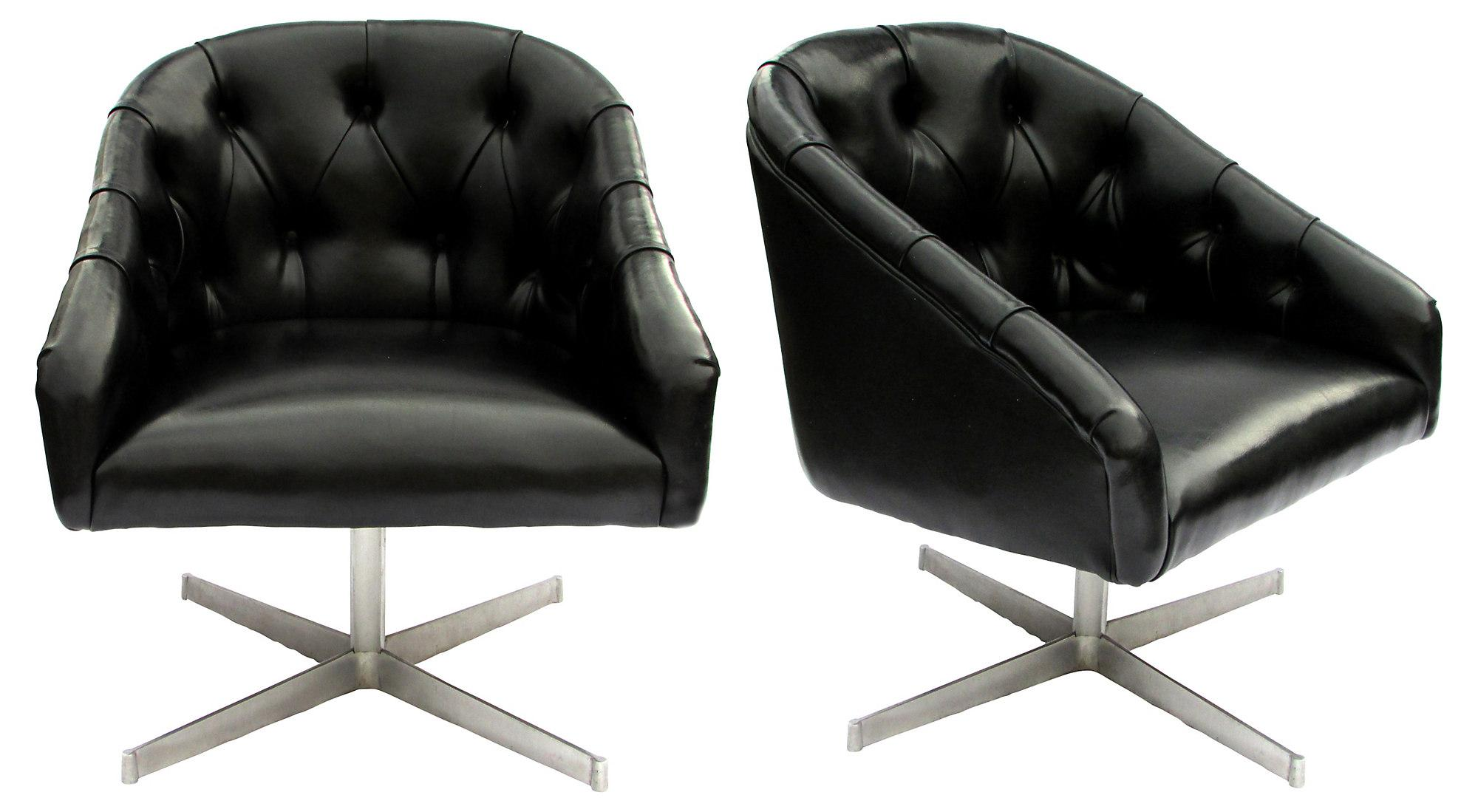This mid century tufted club chairs is no longer available - Image Of Shelby Williams Mid Century Tufted Swivel Chairs Pair