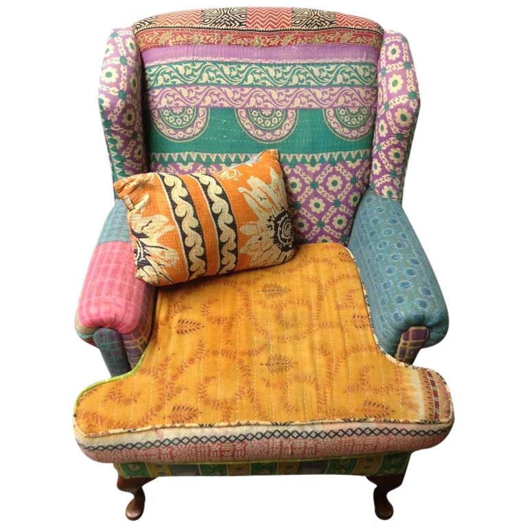 Boho Chic Multi Color Upholstered Wingback Chair Chairish