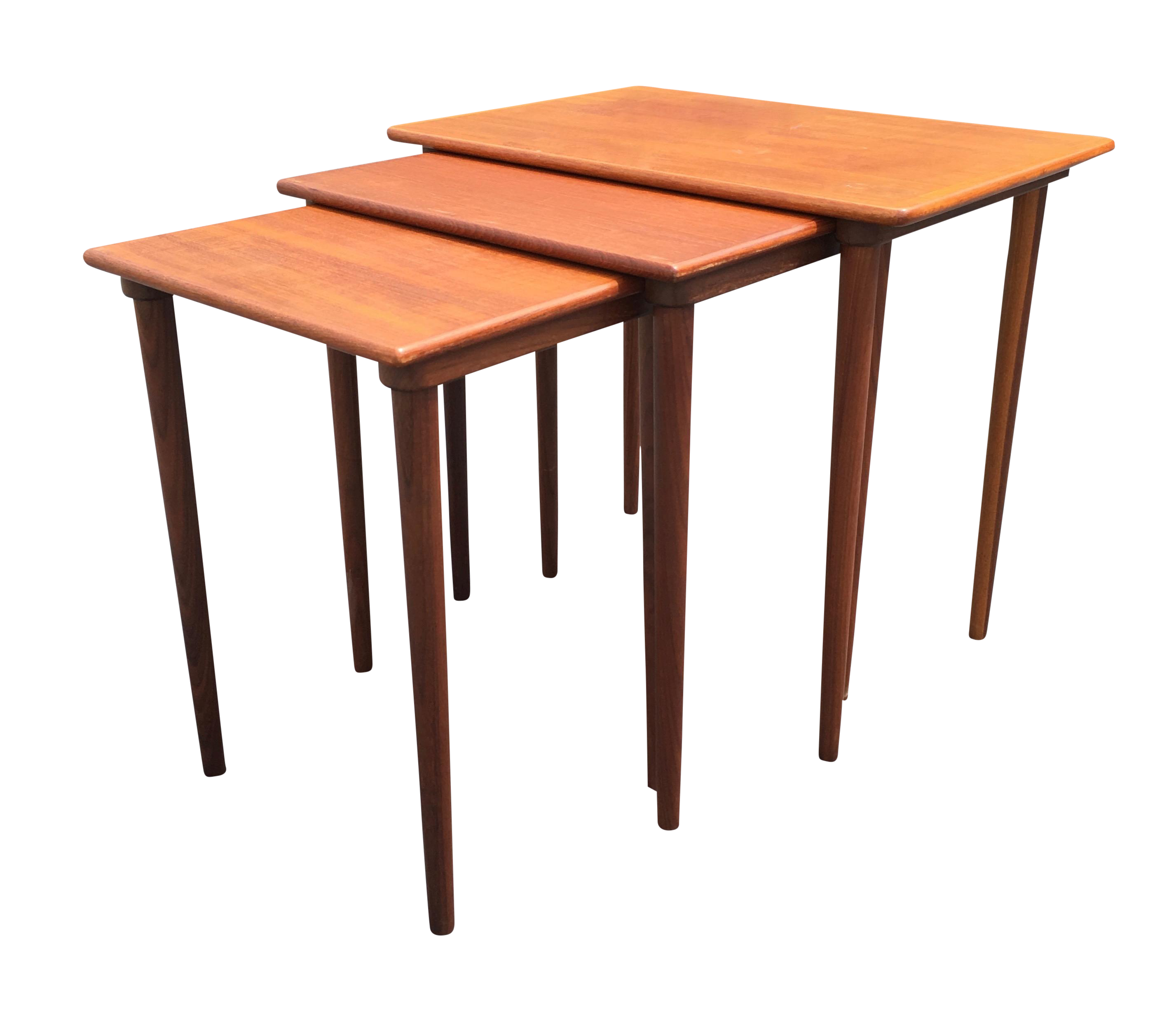 Madsen Danish Modern Nesting Tables Set Of 3 Chairish. Full resolution  image, nominally Width 2854 Height 2462 pixels, image with #C35A08.