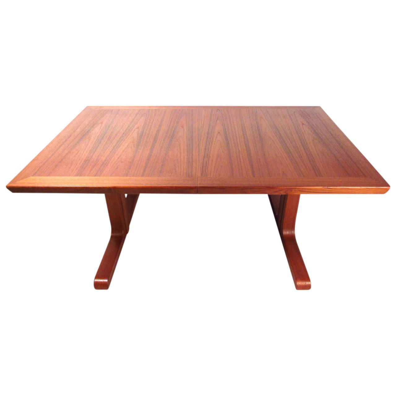 Mid Century Modern Danish Teak Dining Table & Leaves