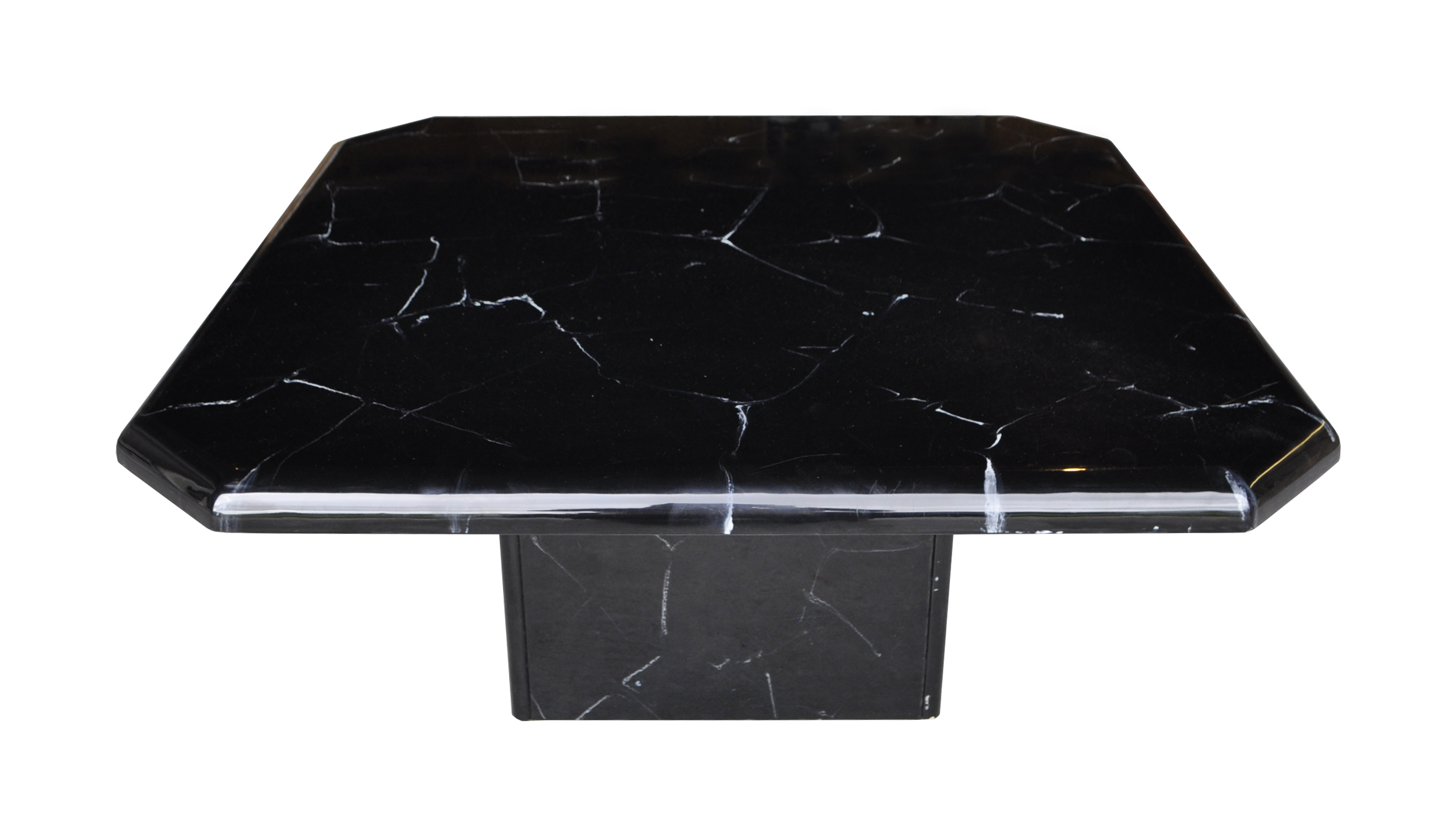 Black and white faux marble coffee table chairish Black and white coffee table