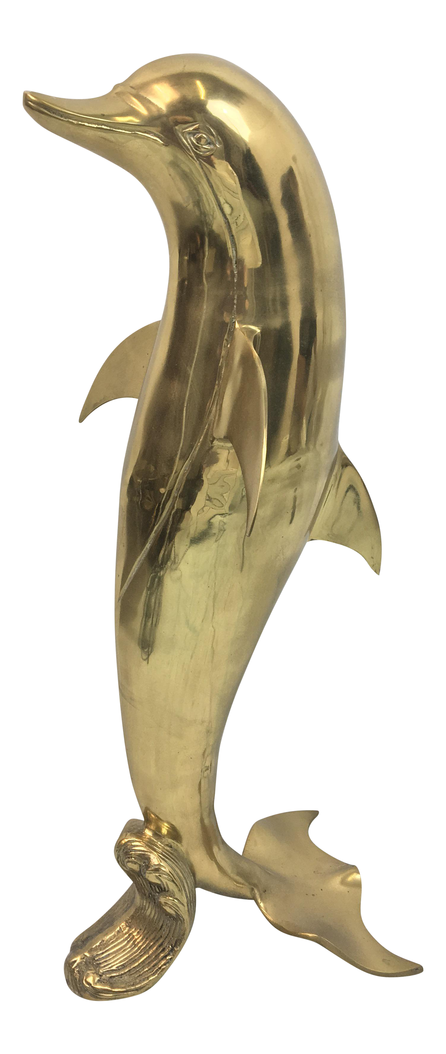 Circa 1960s Large Brass Dolphin Statue Chairish