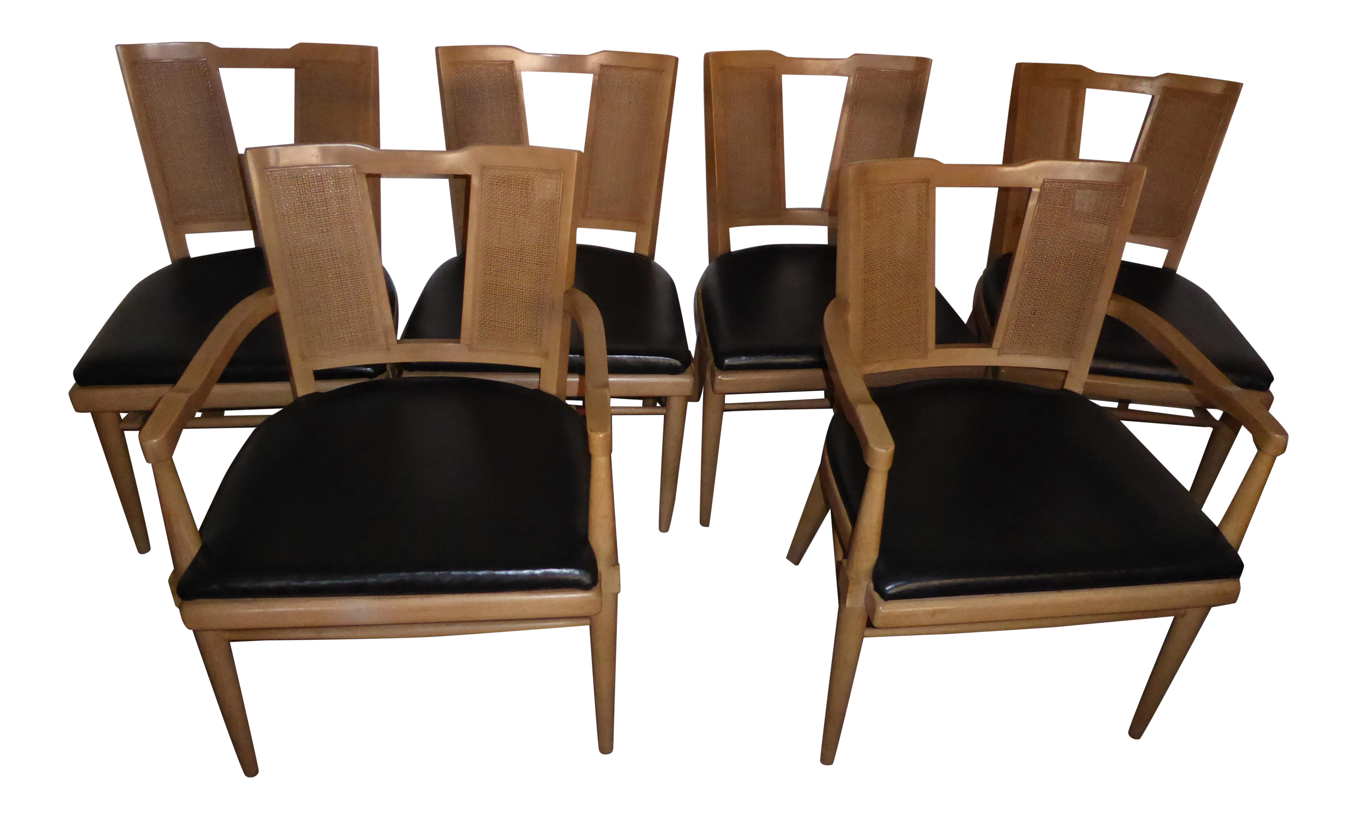 Vintage Danish Modern Style Cane Back Dining Chairs by American