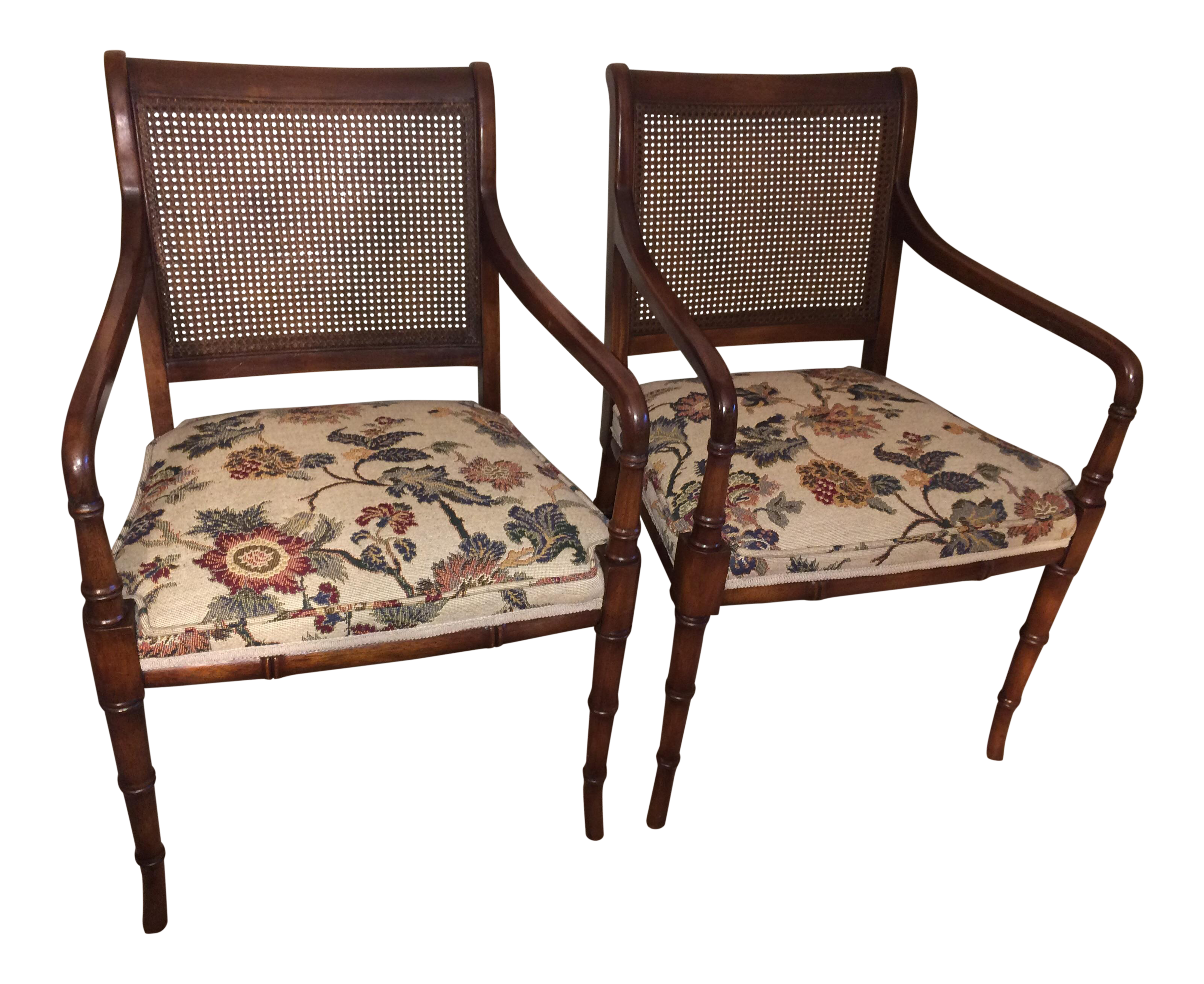 Faux Bamboo Cane Back Chairs Pair