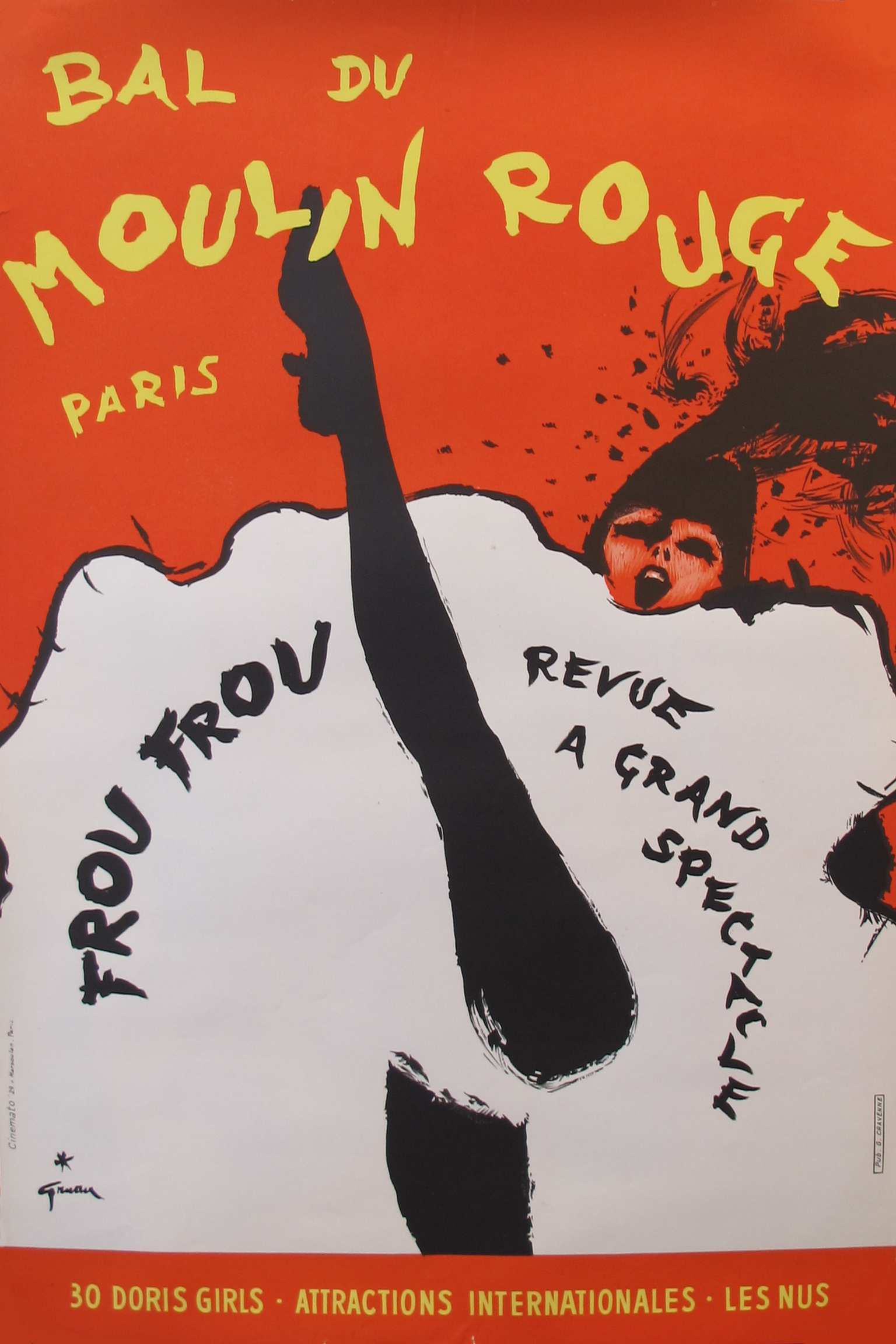 Vintage 1960s Moulin Rouge Poster by Rene Gruau | Chairish