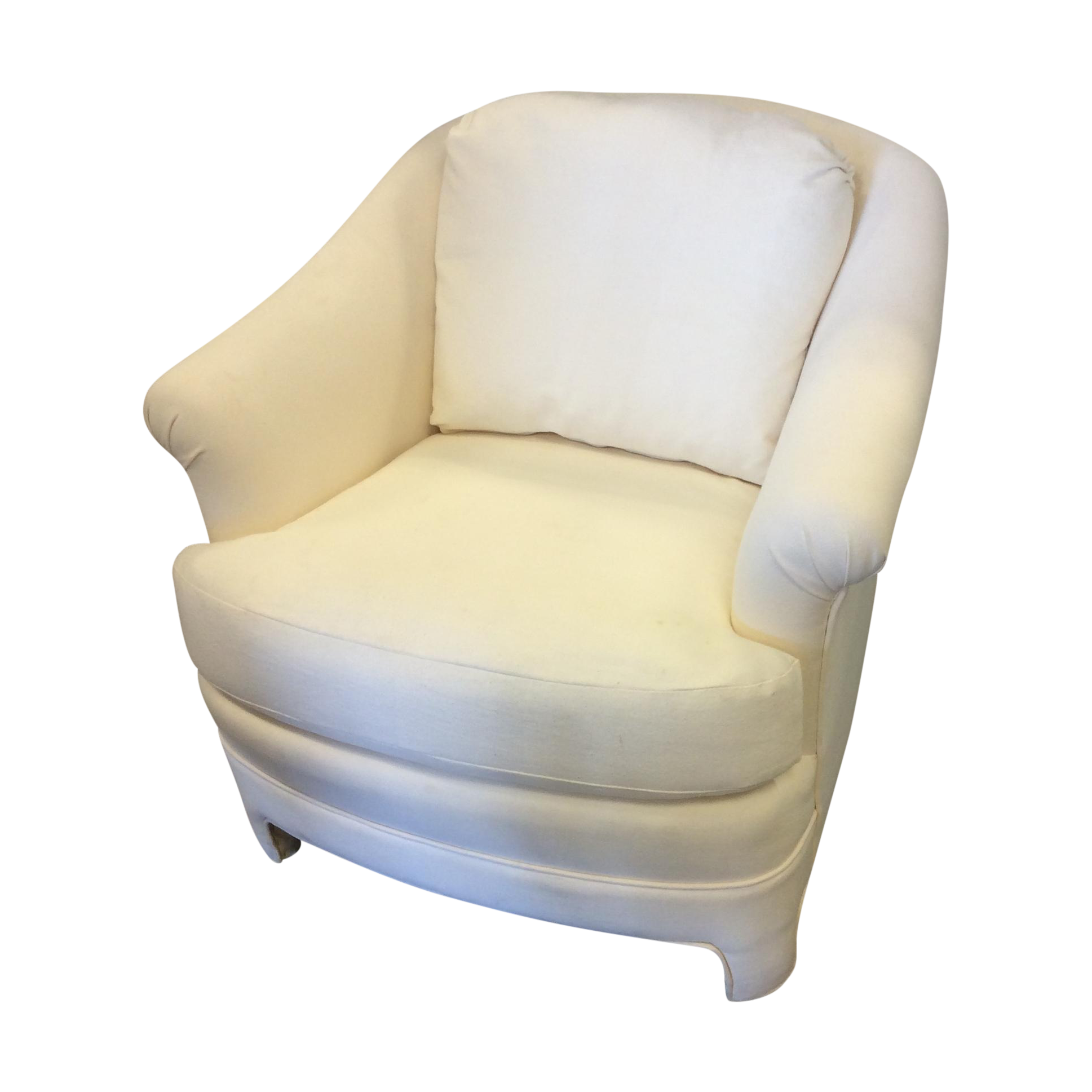 White upholstered barrel back club chair chairish for Small club chairs upholstered